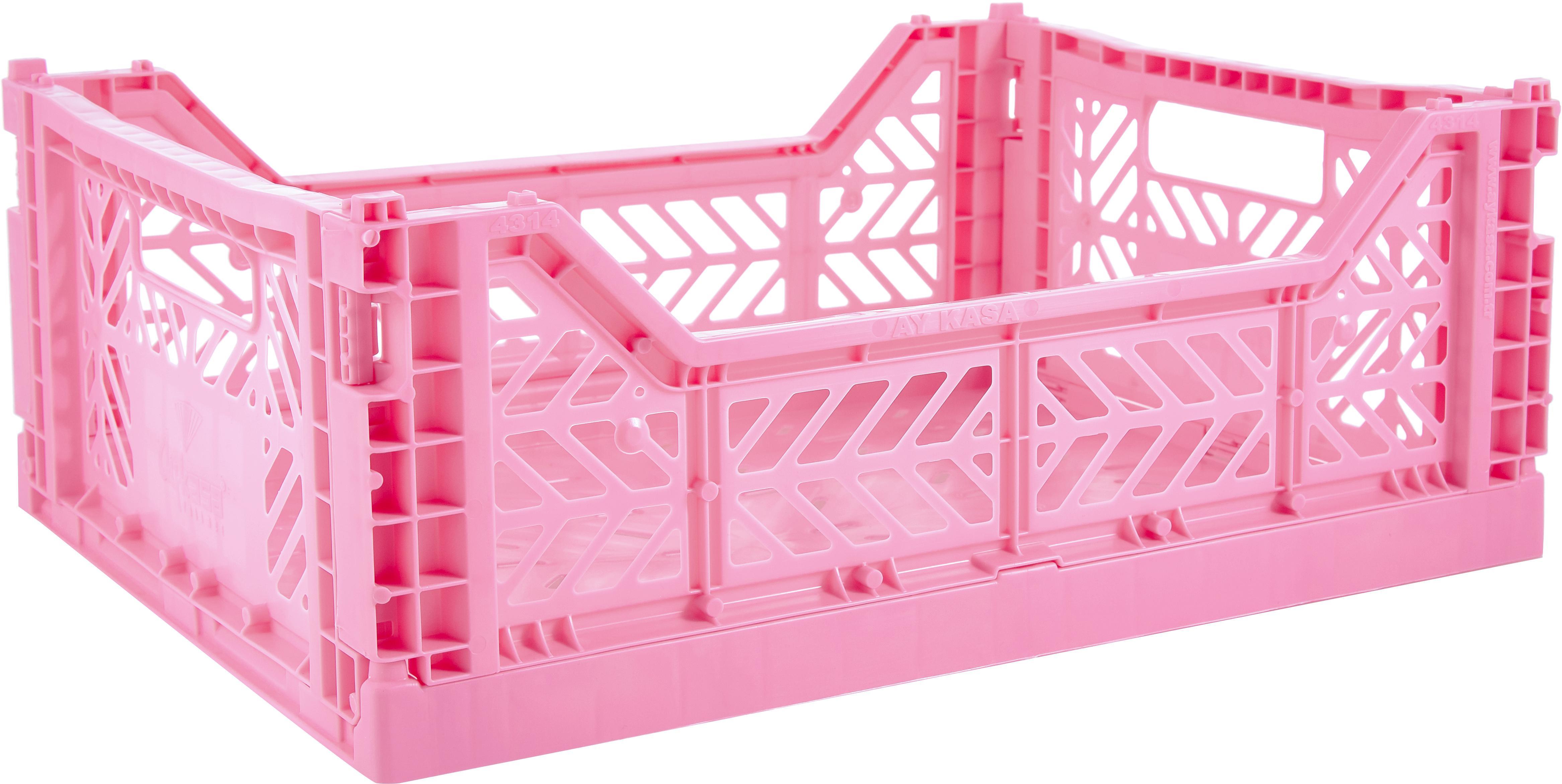 Klappkiste Baby Pink, stapelbar, medium, Recycelter Kunststoff, Pink, 40 x 14 cm