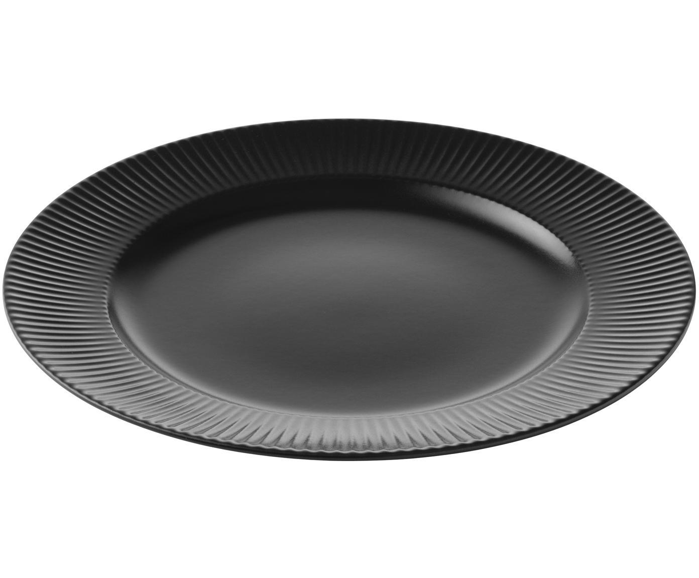 Dinerbord Groove, 4 stuks, Porselein, Zwart, Ø 27 x H 1 cm