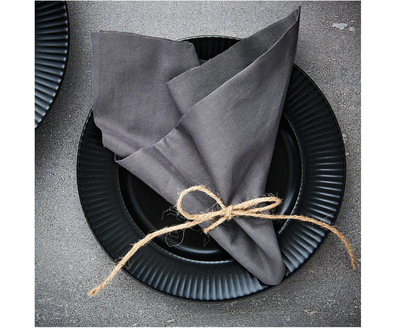 Schwarze Speiseteller Groove mit Rillenstruktur, 4 Stück, Steingut, Schwarz, Ø 27 x H 1 cm