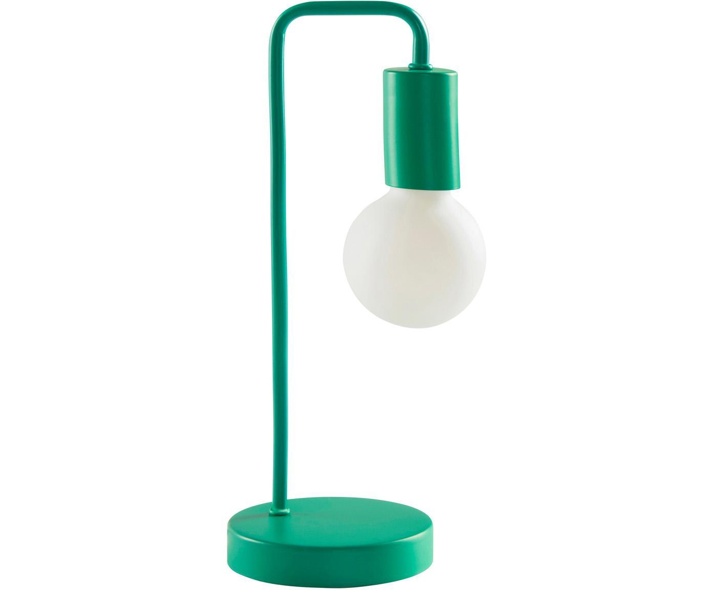 Lámpara de mesa Cascais, Pantalla: metal recubierto, Cable: cubierto en tela, Verde, Ø 14 cm