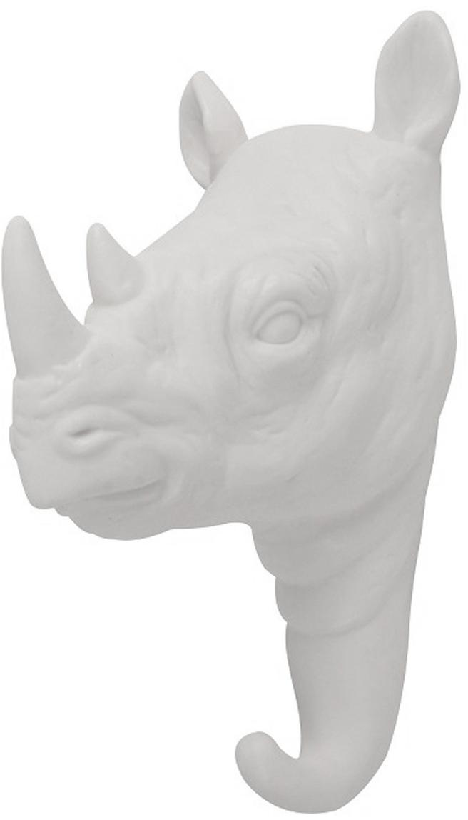 Wandhaken Rhino aus Porzellan, Porzellan, Weiß, H 14 cm