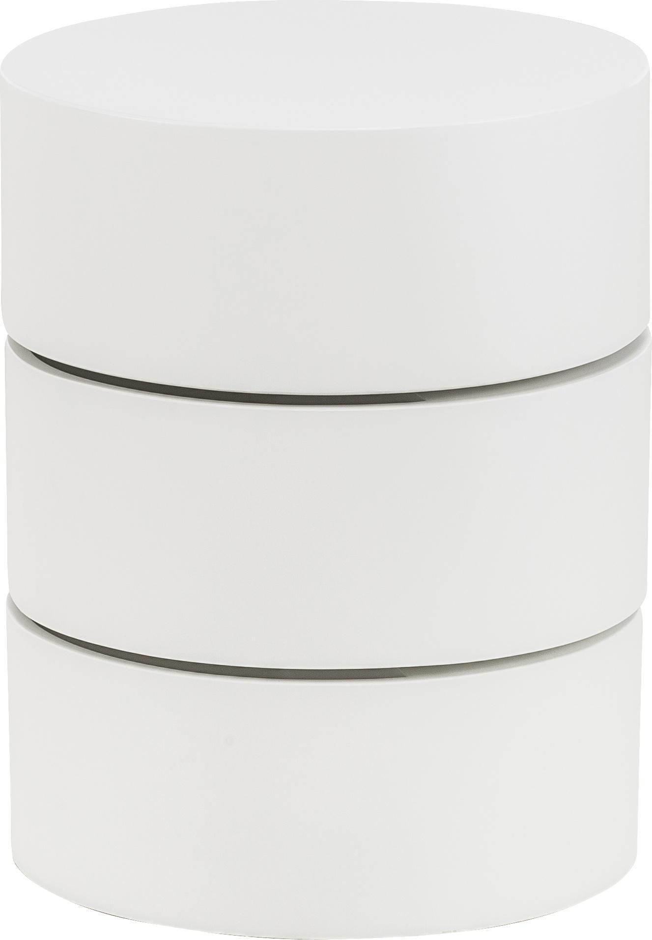 Tavolino con cassetti Loka, Pannello di fibra a media densità, verniciato, Bianco, Ø 40 x Alt. 51 cm