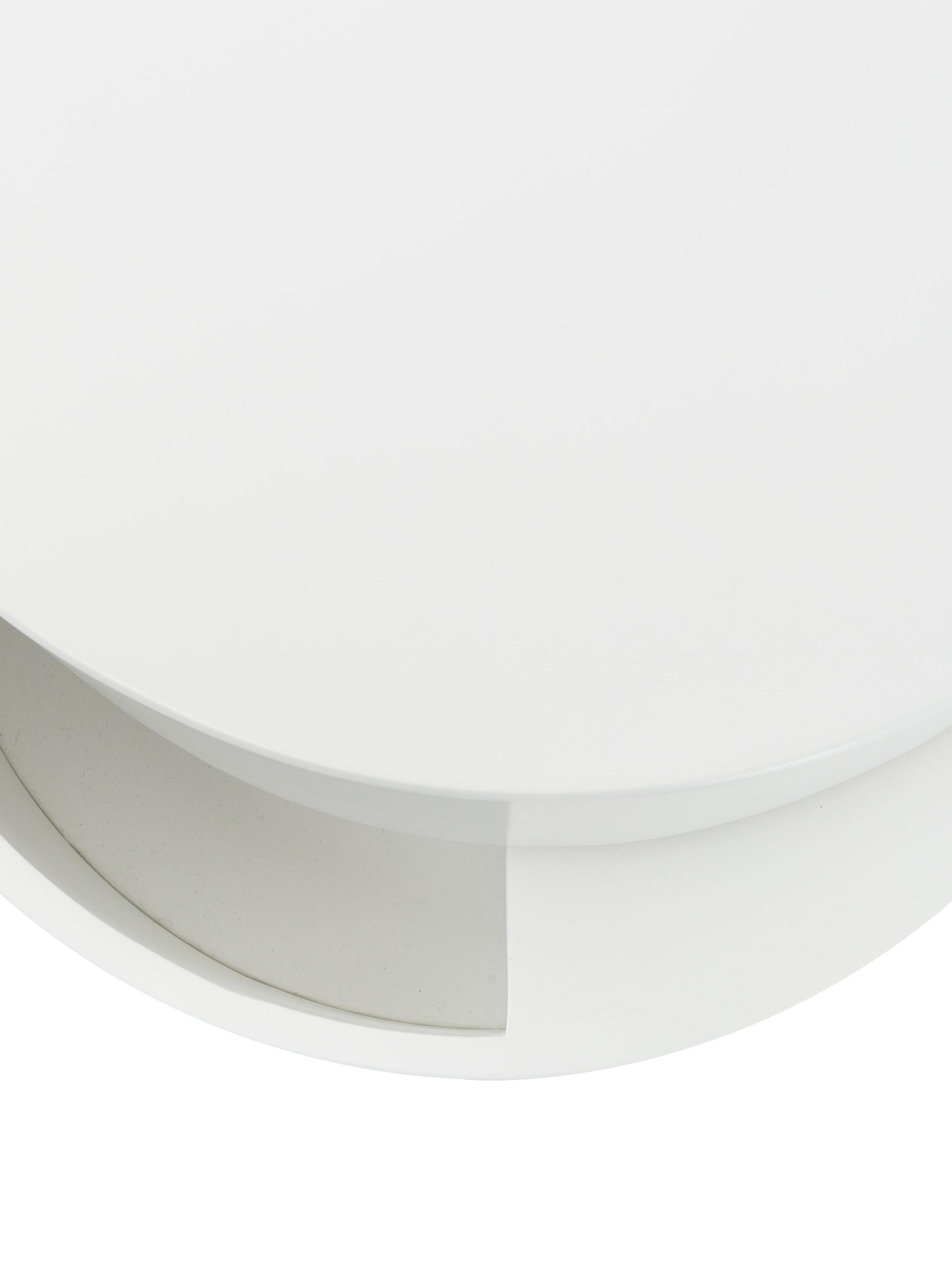 Beistelltisch Loka mit beweglichen Fächern, Mitteldichte Holzfaserplatte, lackiert, Weiß, Ø 40 x H 51 cm