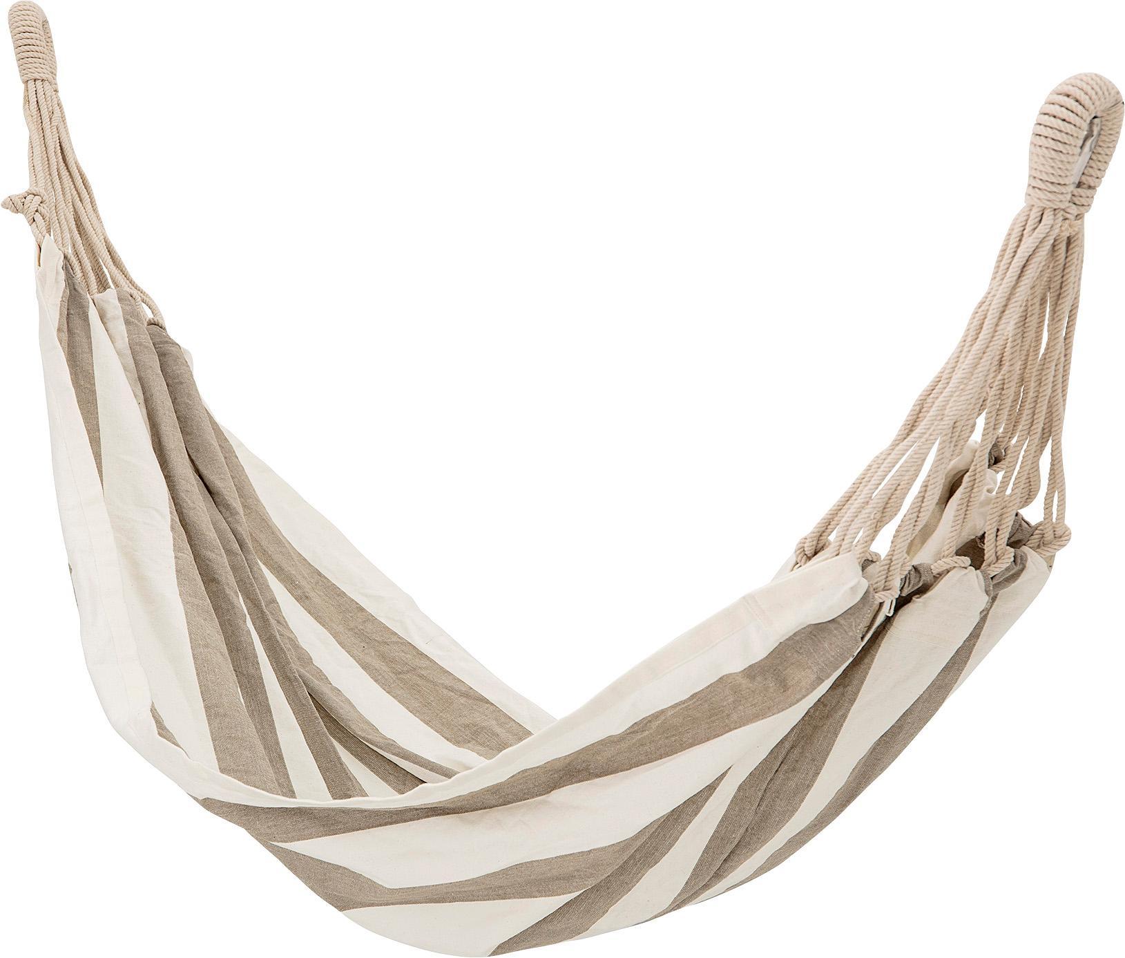 Hängematte Lazy aus Baumwolle mit gestreiftem Muster, Baumwolle, Weiss, Beige, 100 x 270 cm