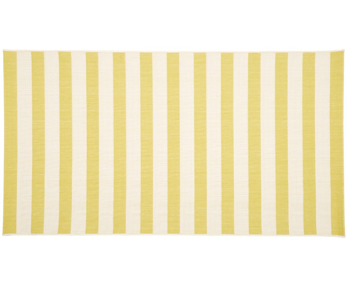 Gestreept in- & outdoor vloerkleed Axa in geel/wit, Bovenzijde: polypropyleen, Onderzijde: polyester, Crèmewit, geel, B 80 x L 150 cm (maat XS)