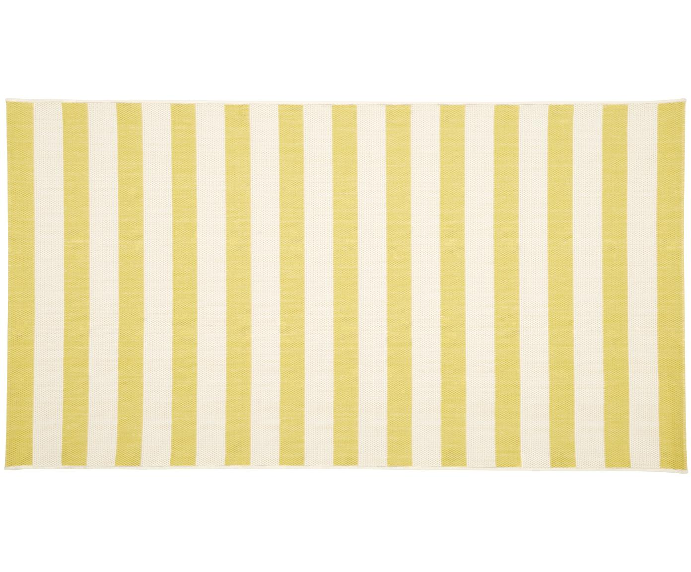 Gestreifter In- & Outdoor-Teppich Axa in Gelb/Weiß, Flor: 100% Polypropylen, Cremeweiß, Gelb, B 80 x L 150 cm (Größe XS)