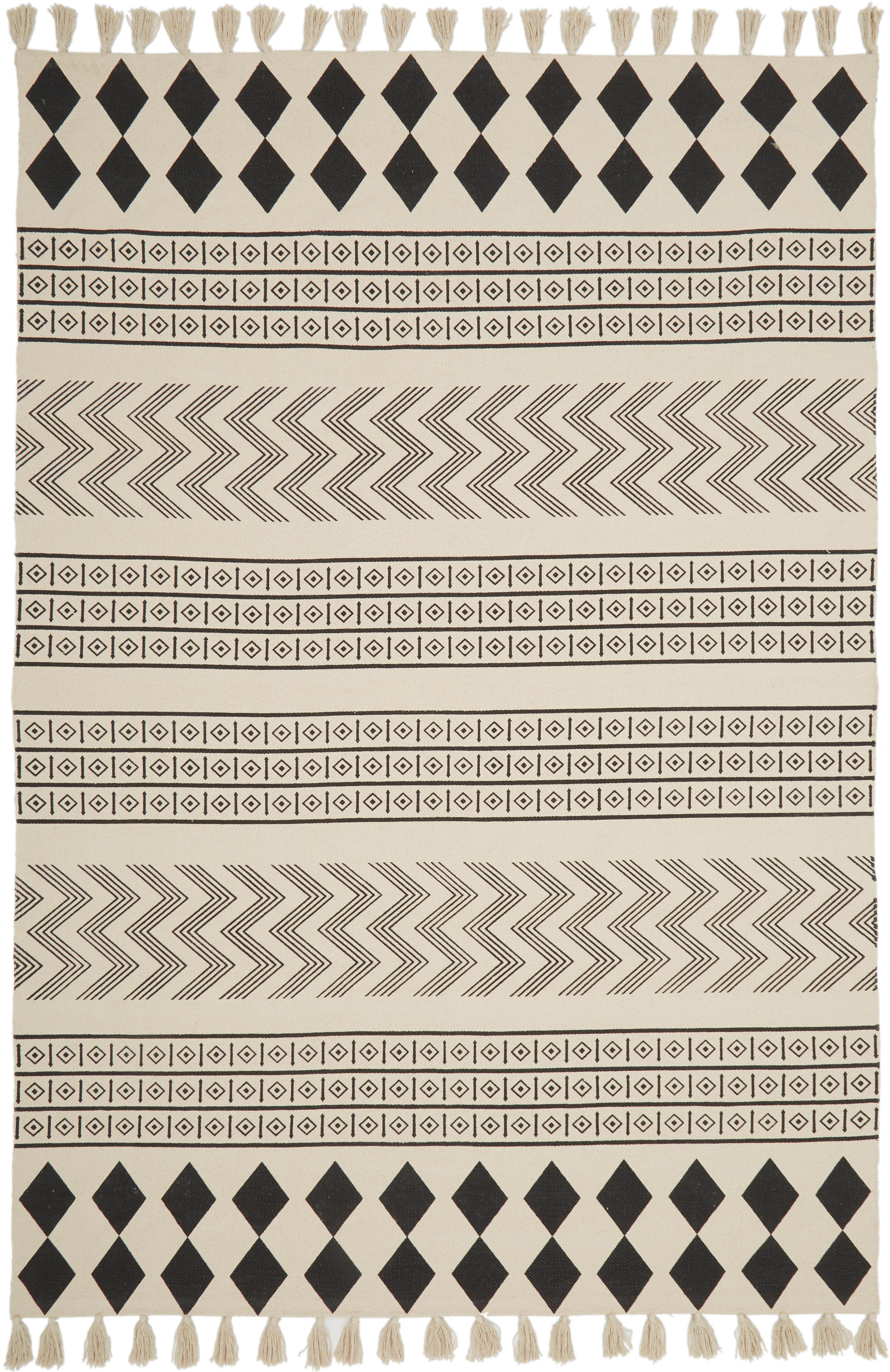 Alfombra artesanal de algodón Edna, estilo étnico, Algodón, Blanco crema, negro, An 60 x L 90 cm (Tamaño XS)