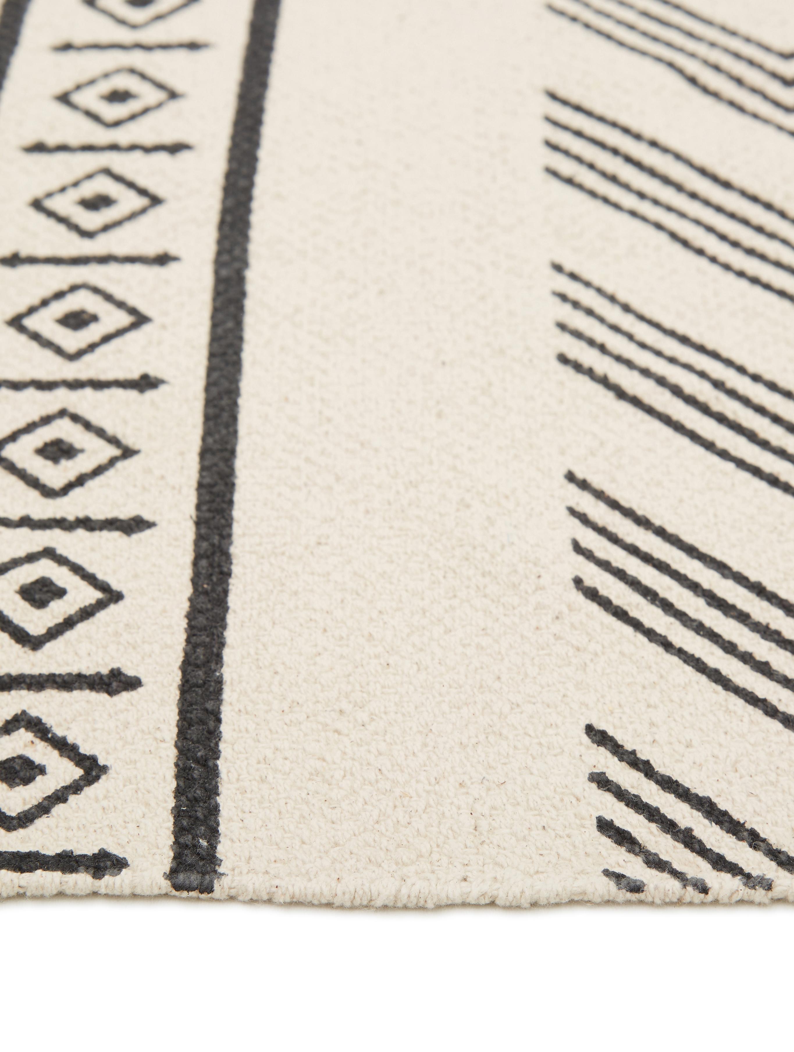 Ręcznie tkany dywan z bawełny Edna, Bawełna, Kremowobiały, czarny, S 120 x D 180 cm  (Rozmiar S)