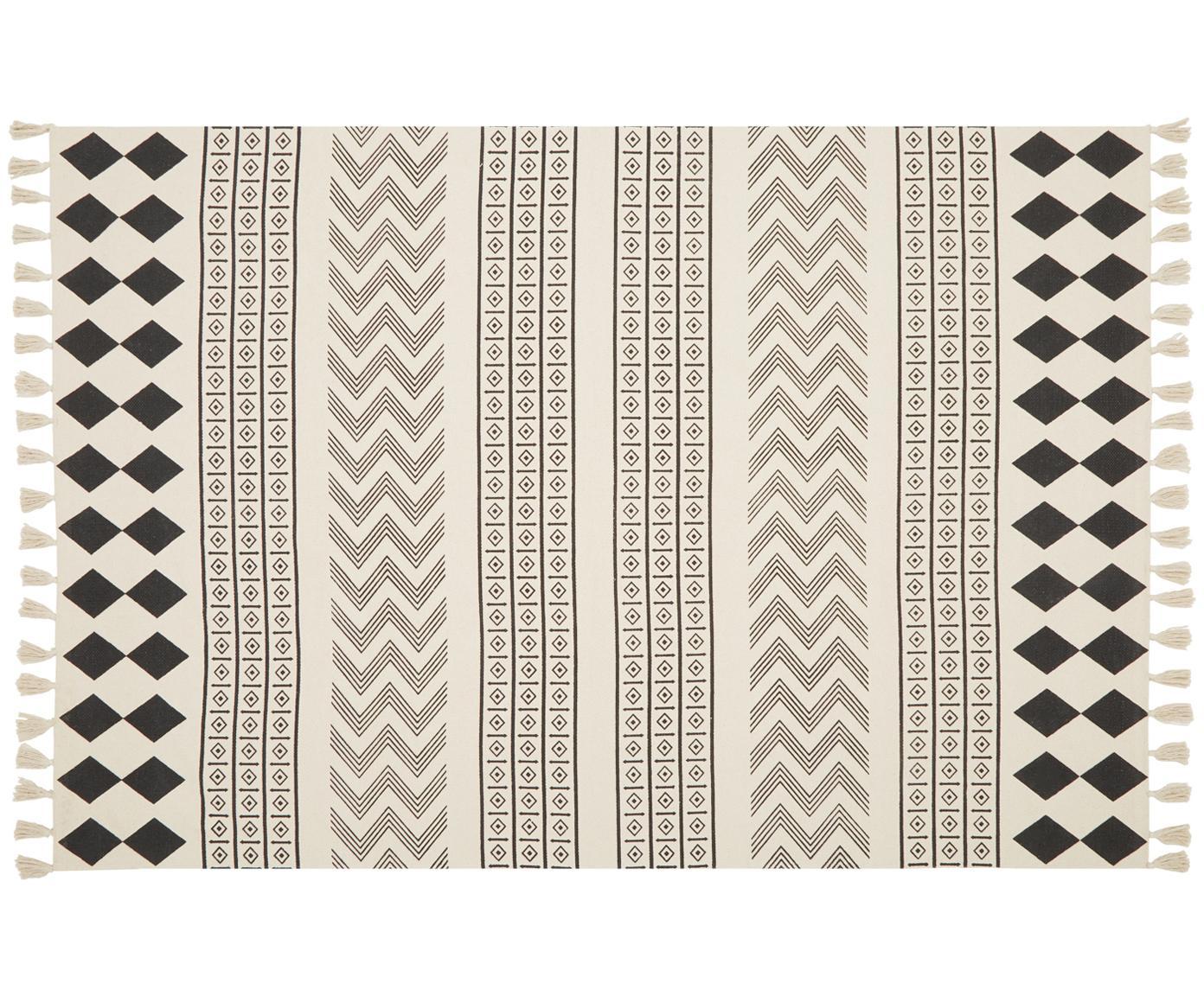Handgewebter Baumwollteppich Edna im Ethno Style, 100% Baumwolle, Cremeweiß, Schwarz, B 60 x L 90 cm (Größe XS)