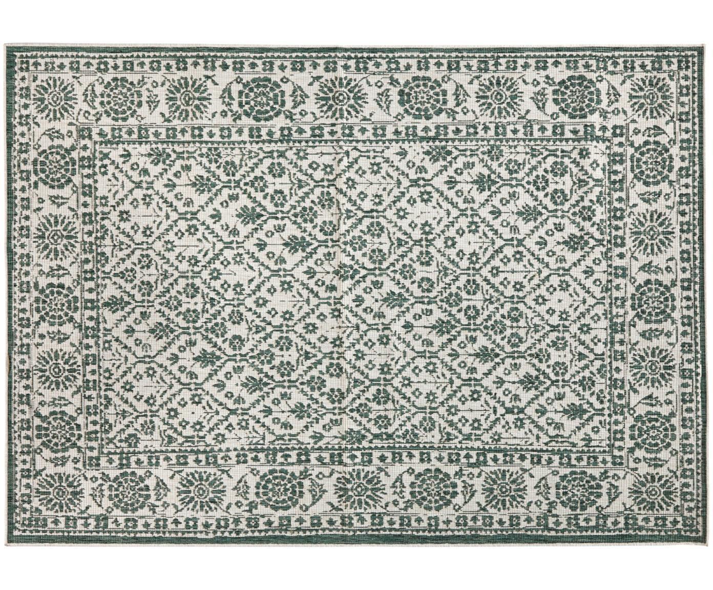 Dwustronny dywan wewnętrzny/zewnętrzny vintage Curacao, Zielony, odcienie kremowego, S 80 x D 150 cm (Rozmiar XS)
