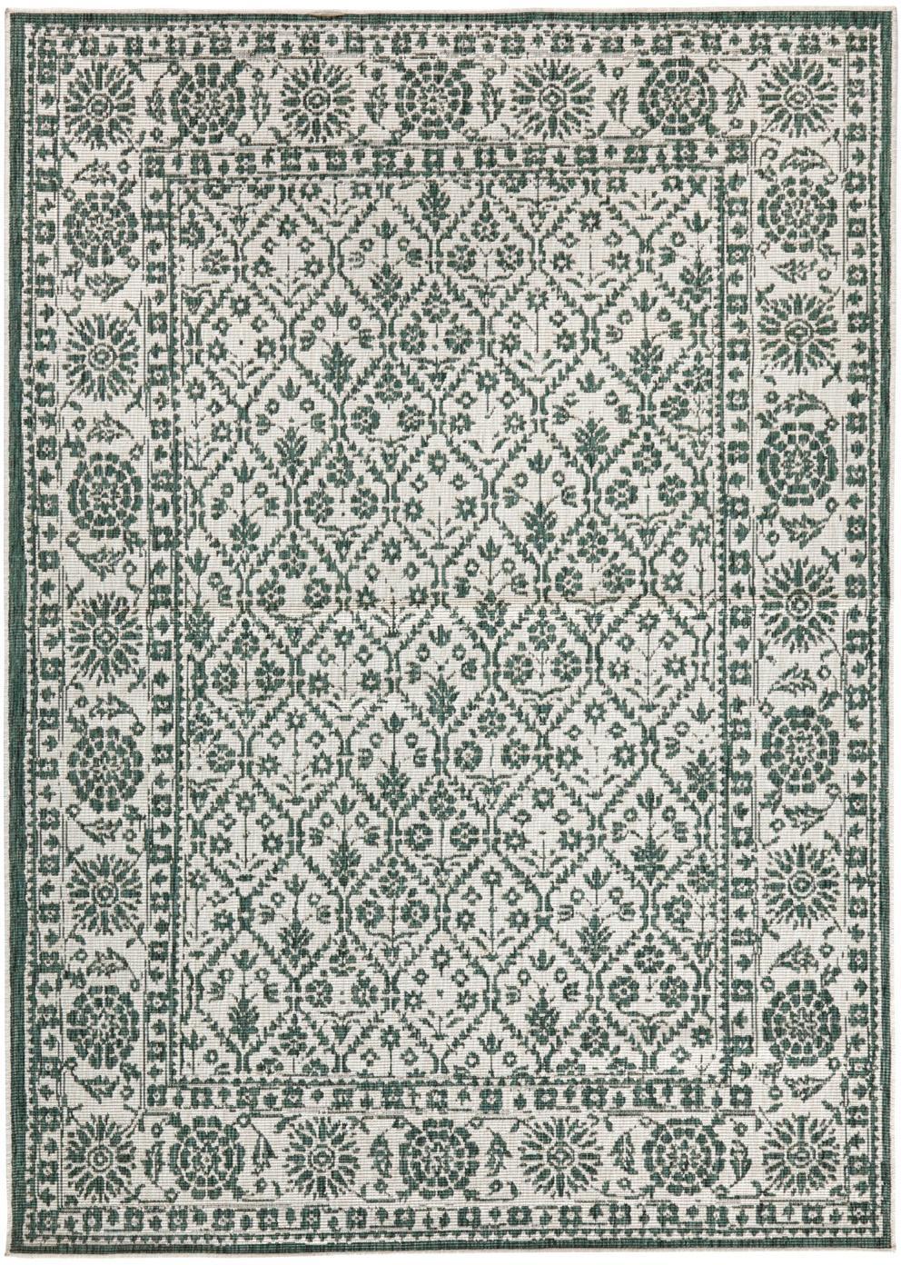 In- und Outdoor-Wendeteppich Curacao im Vintage Style, Grün/Creme, Grün, Cremefarben, B 80 x L 150 cm (Größe XS)