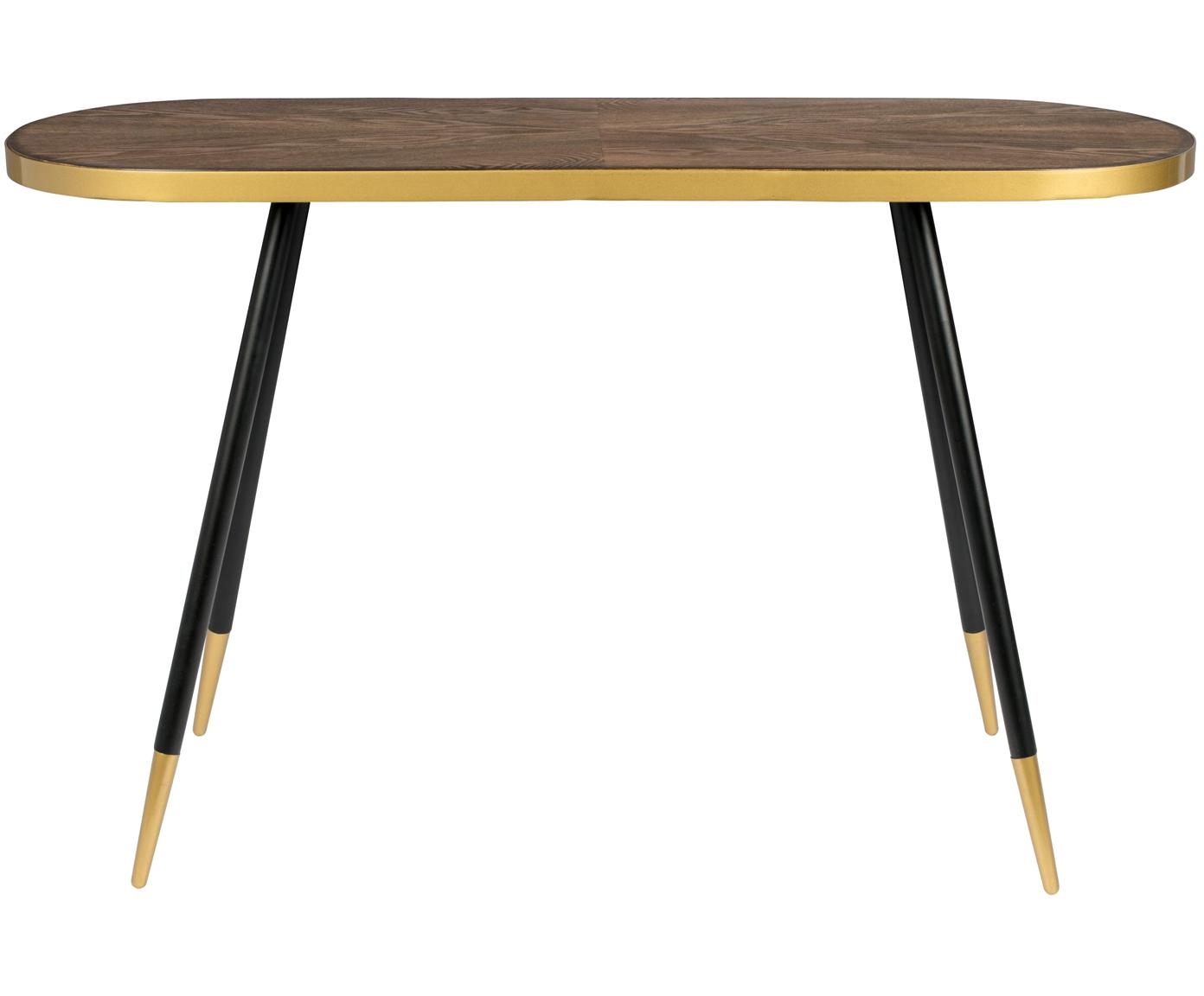 Konsole Denise mit ovaler Platte, Tischplatte: Mitteldichte Holzfaserpla, Eschenholz, Goldfarben, B 121 x T 41 cm