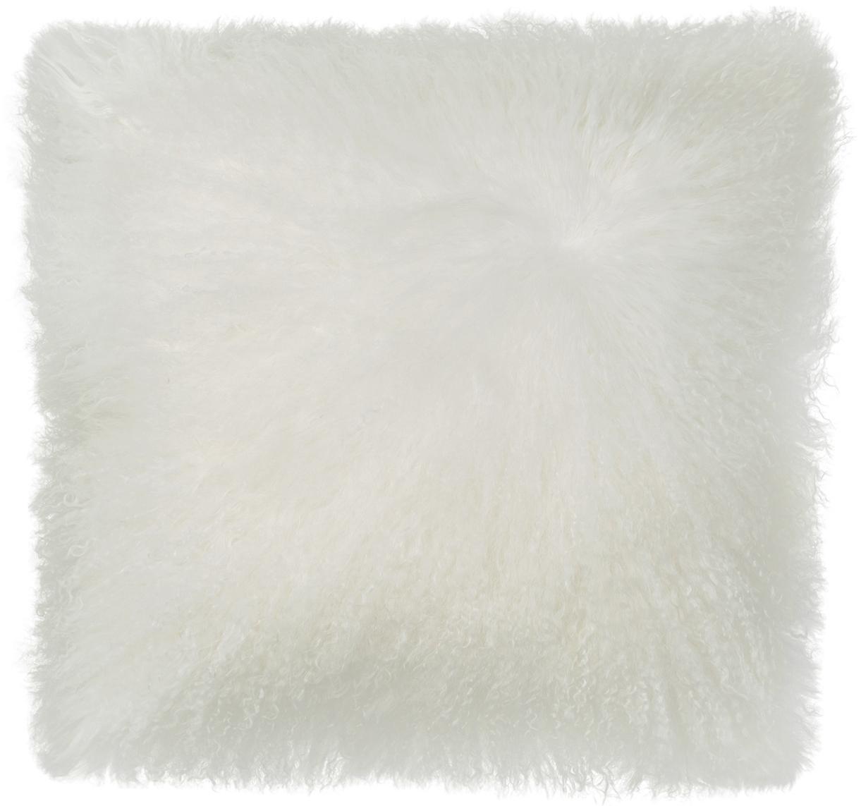 Langhaar-Lammfell Kissenhülle Ella, gelockt, Vorderseite: 100% mongolisches Lammfel, Rückseite: 100% Polyester, Weiß, 40 x 40 cm
