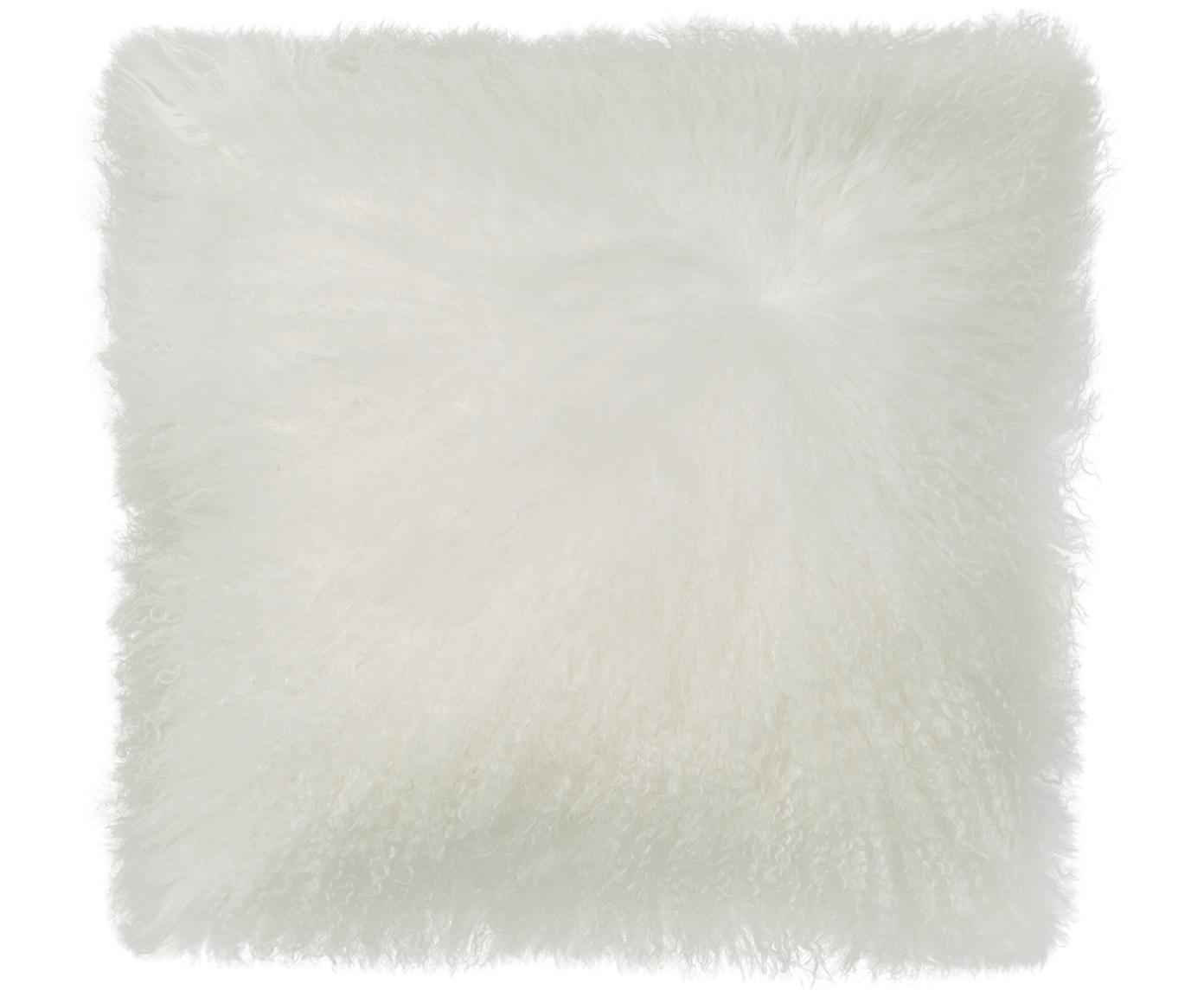 Langhaar-Lammfell Kissenhülle Ella, gelockt, Vorderseite: 100% mongolisches Lammfel, Rückseite: 100% Polyester, Weiss, 40 x 40 cm