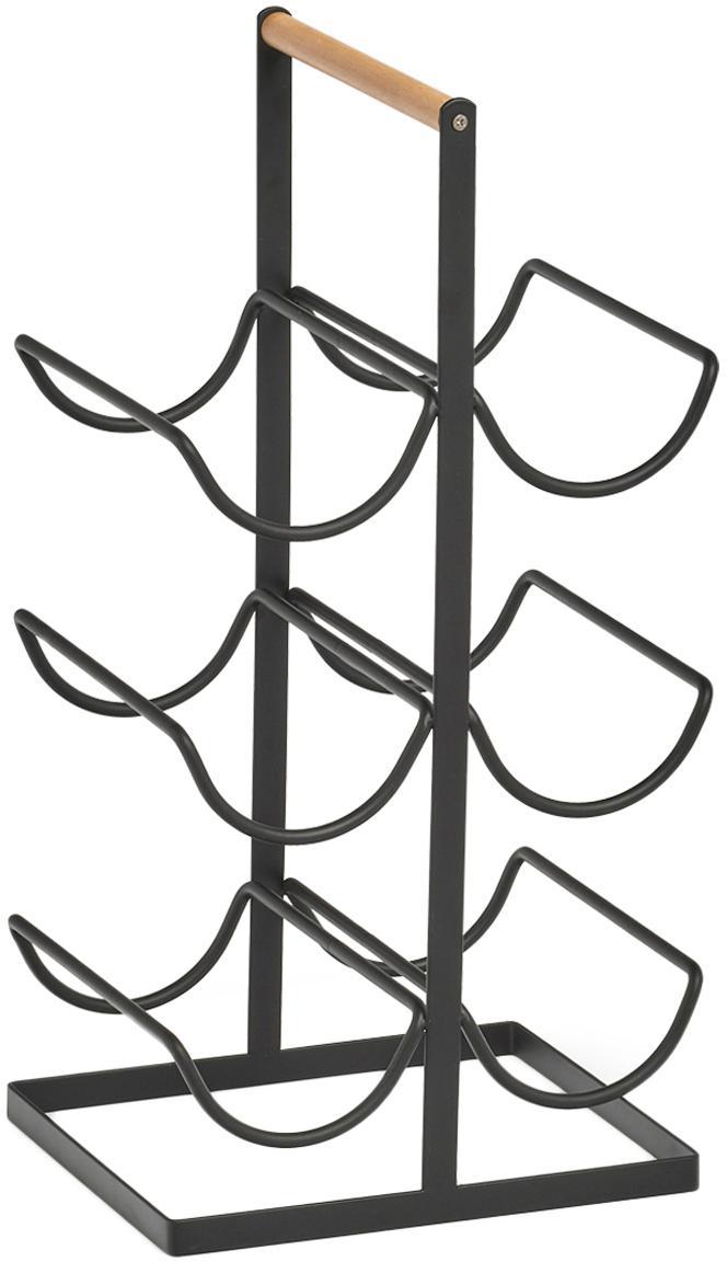 Weinregal Hadena für 6 Flaschen, Gestell: Metall, pulverbeschichtet, Griff: Holz, Schwarz, Holz, 24 x 46 cm