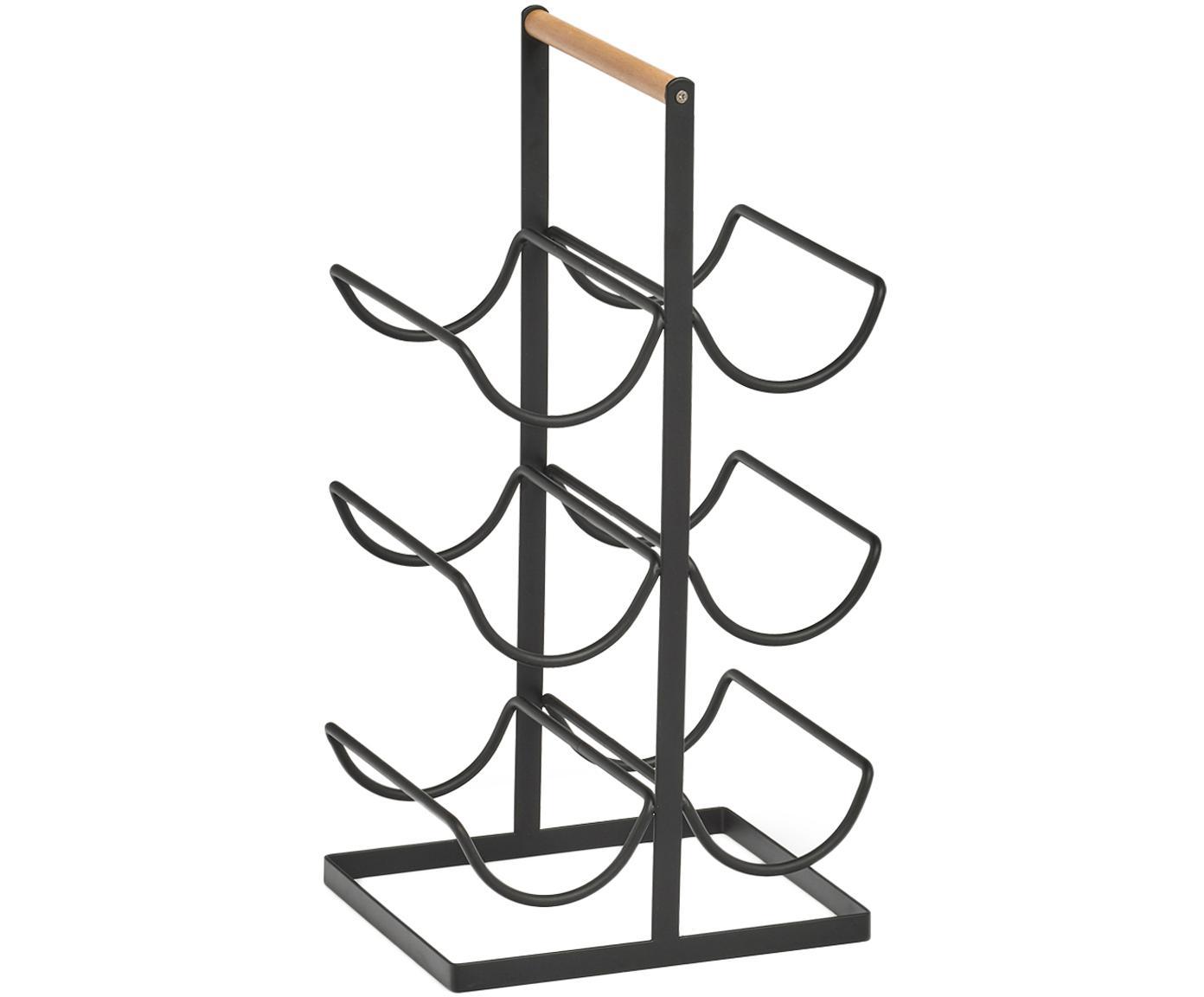 Botellero Hadena, Estructura: metal con pintura en polv, Asa: madera, Negro, madera, An 24 x F 46 cm