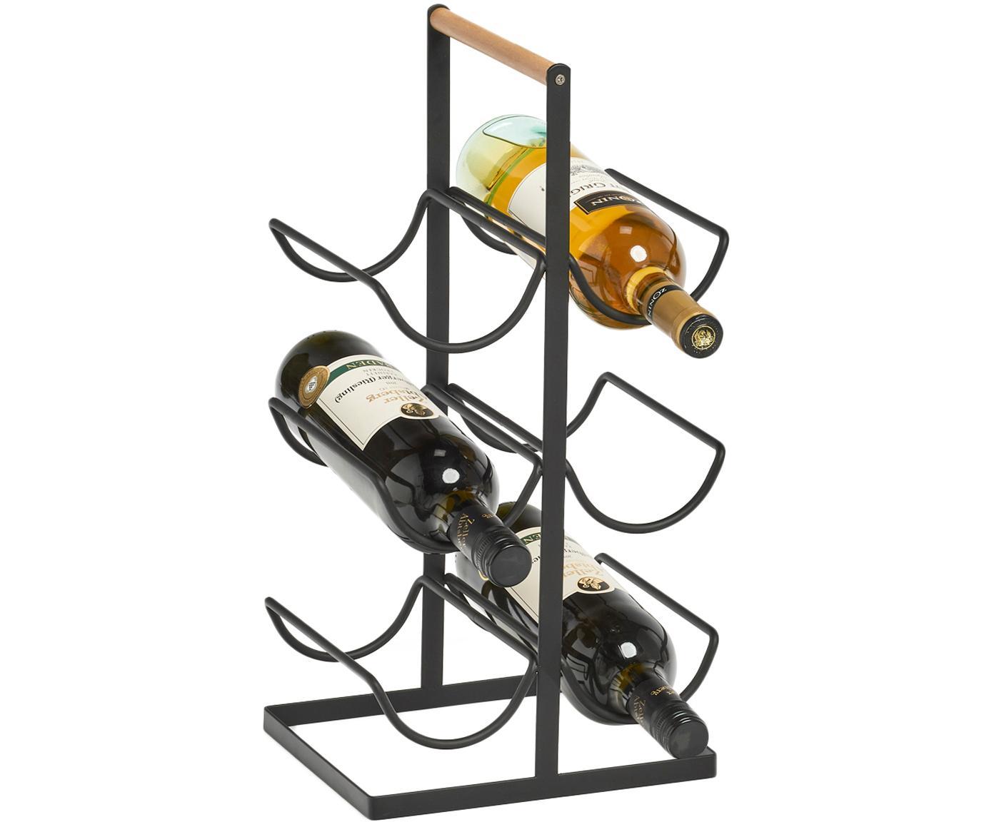 Weinregal Hadena, Gestell: Metall, pulverbeschichtet, Griff: Holz, Schwarz, Holz, 24 x 46 cm