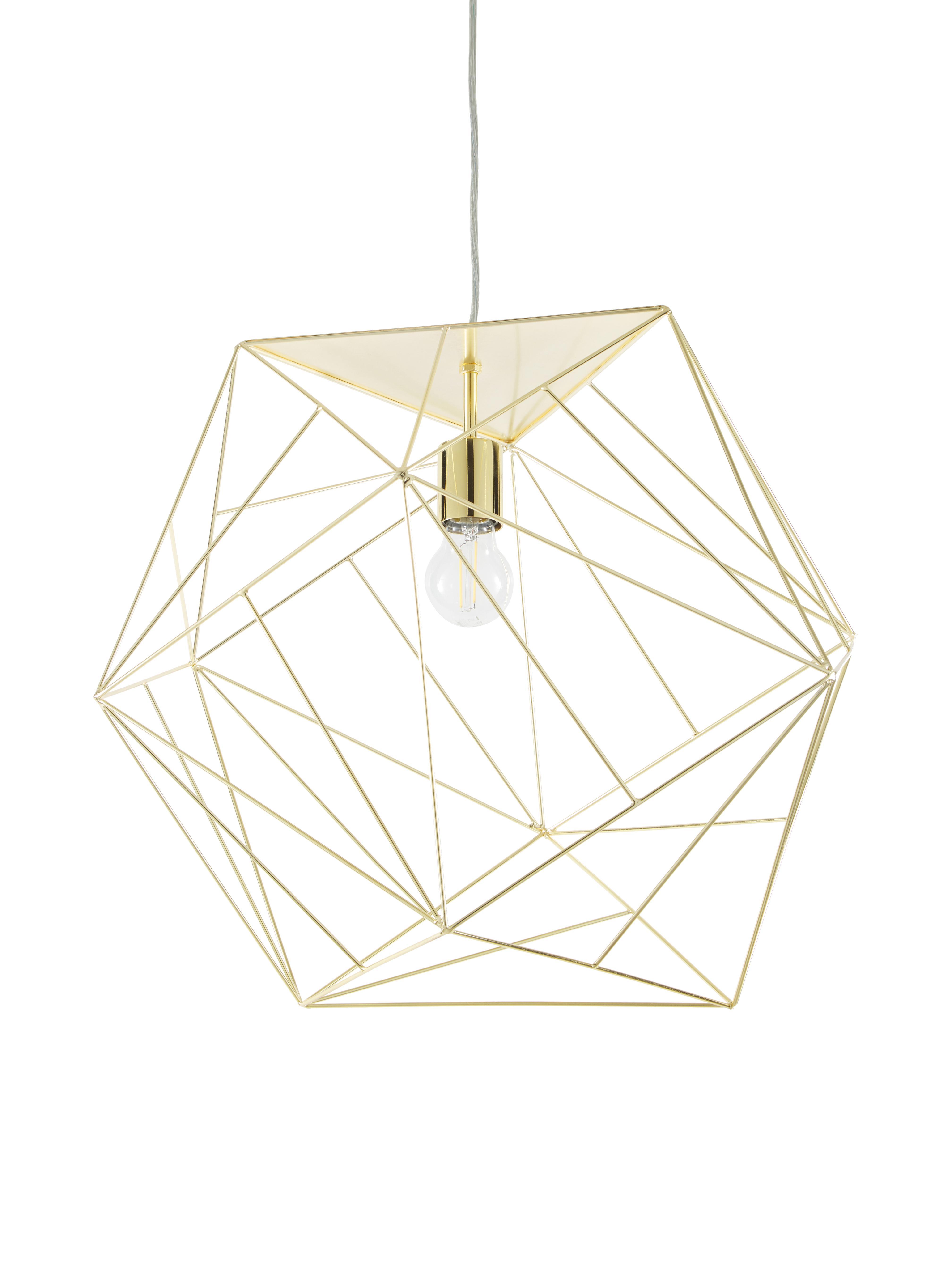 Lámpara de techo Cape Town, Pantalla: acero inoxidable, latón, Cable: plástico, Latón, Ø 51 x Al 45 cm