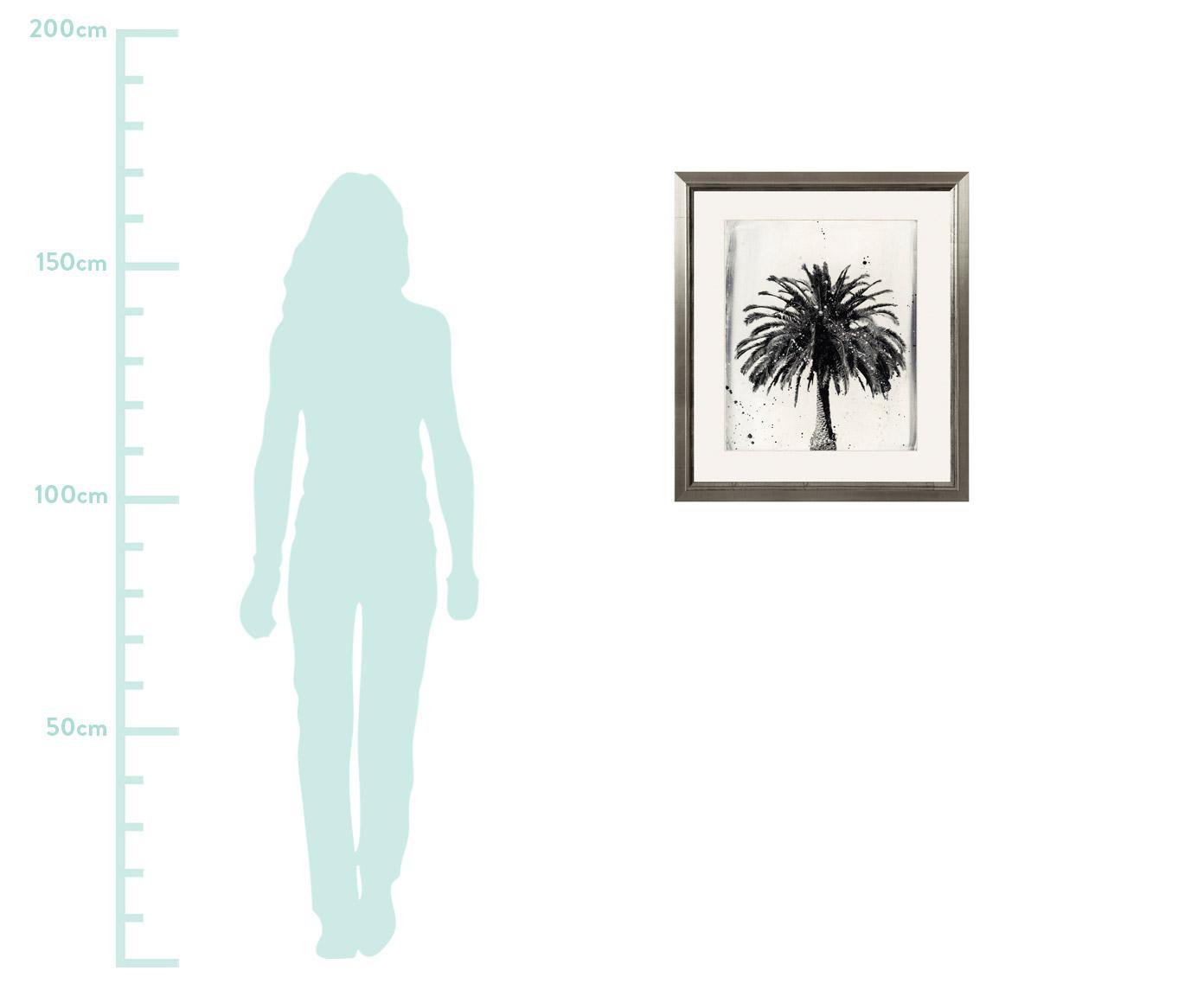 Gerahmter Digitaldruck L.A Dream, Bild: Digitaldruck, Rahmen: Holz, Front: Plexiglas, Bild: Schwarz, WeissRahmen: Silberfarben, 60 x 70 cm