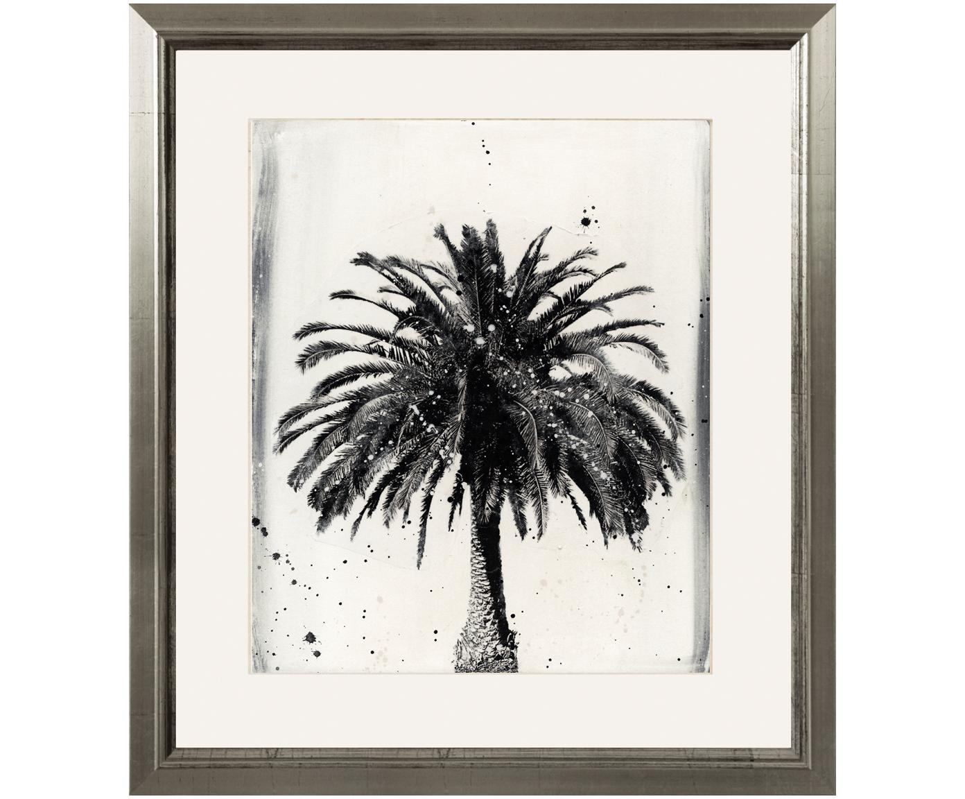 Ingelijste digitale print L.A Dream, Afbeelding: digitale print, Lijst: hout, Afbeelding: zwart, wit.  Frame: zilverkleurig, 60 x 70 cm