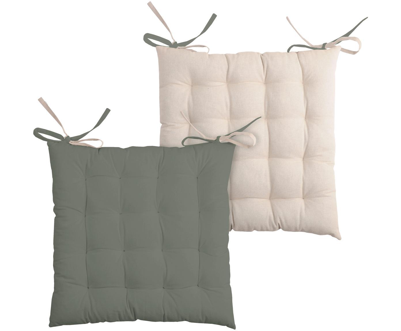 Dubbelzijdig stoelkussen Duo in kaki/beige, Kaki, lichtbeige, 40 x 40 cm