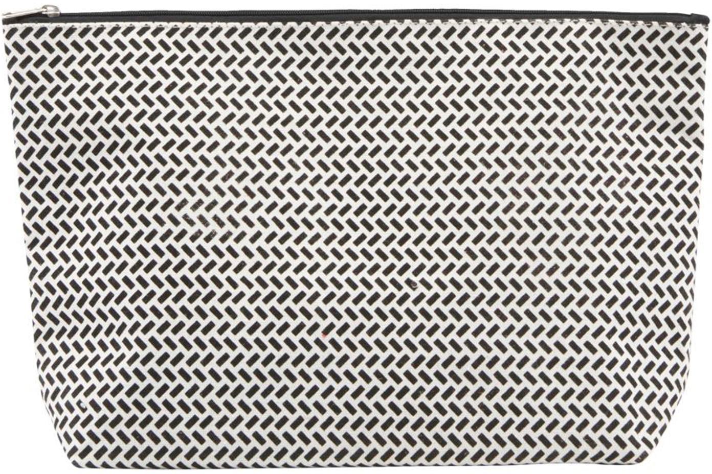 Portatrucchi con cerniera Paran, 38% cotone, 40% poliestere, 22% rayon, Nero, bianco, Larg. 32 x Alt. 20 cm