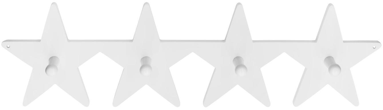 Wandgarderobe Star, Holz, Weiß, 50 x 12 cm