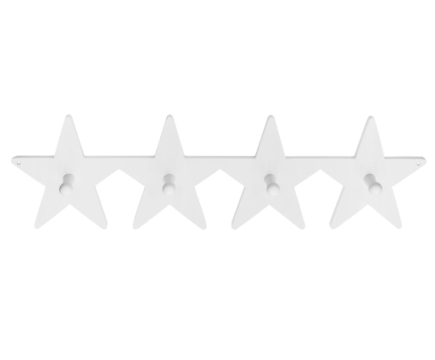 Wandgarderobe Star, Holz, Weiss, 50 x 12 cm