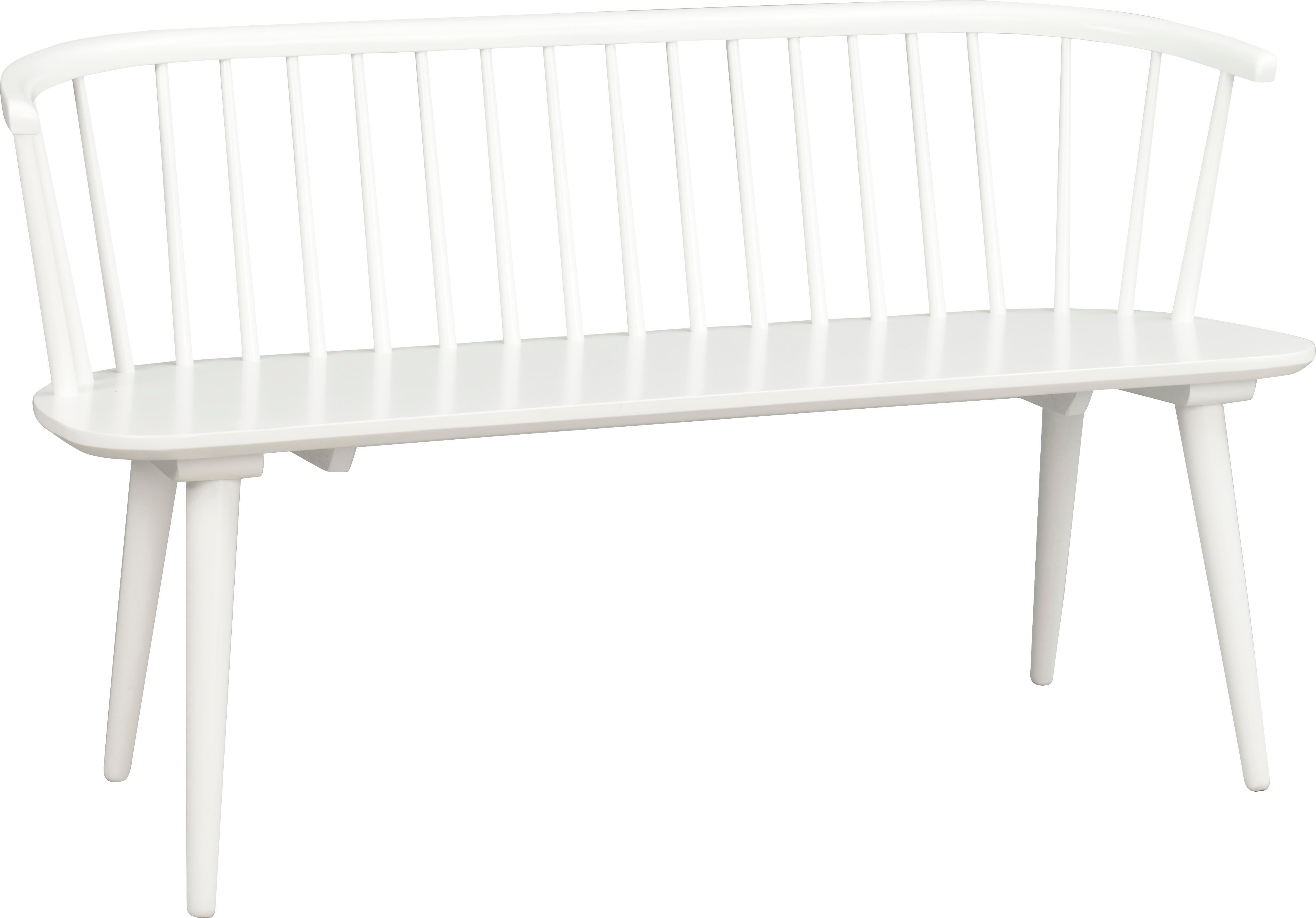 Panca in legno bianco Carmen, Legno di caucciù massiccio verniciato, Bianco, Larg. 134 x Alt. 76 cm