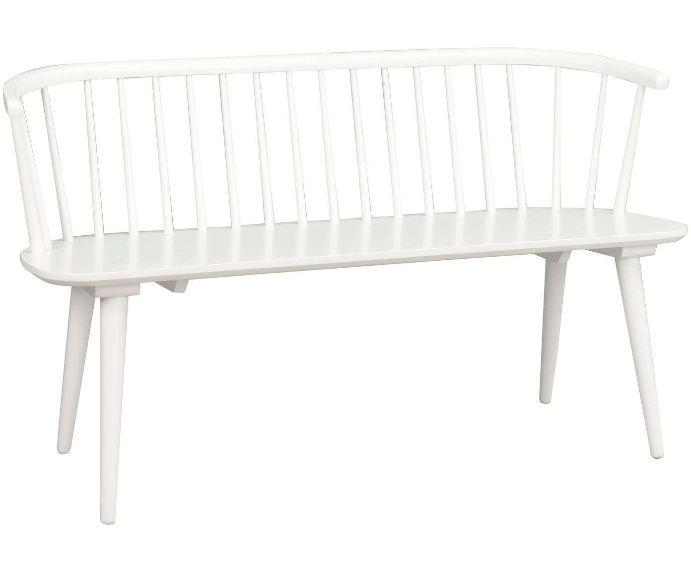 Banco de madera maciza de diseño Windsor Carmen, Madera de caucho maciza, pintado, Blanco, An 134 x Al 76 cm