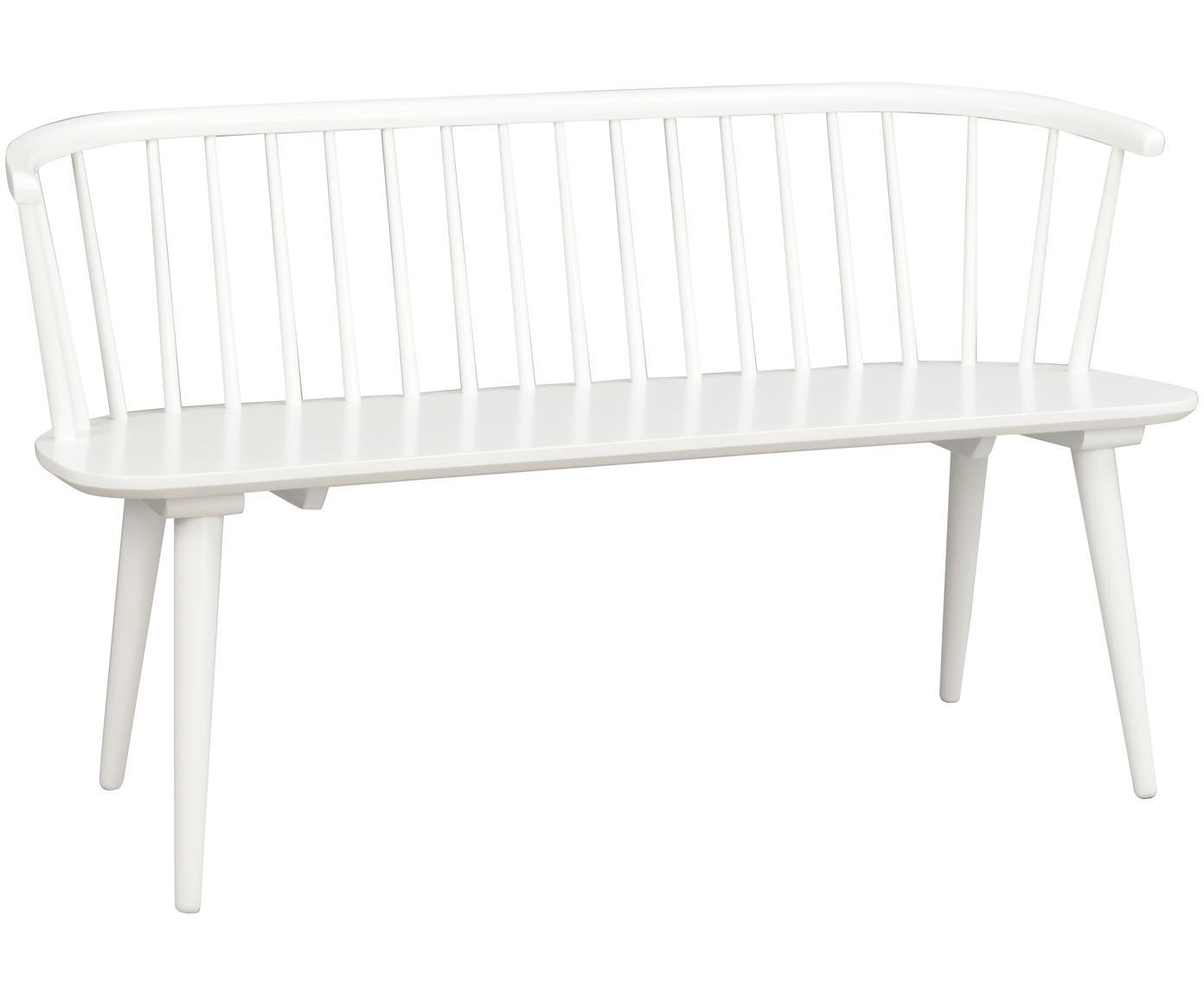Weiße Holzbank Carmen im Windsor Design, Massives Kautschukbaumholz, lackiert, Weiß, 134 x 76 cm