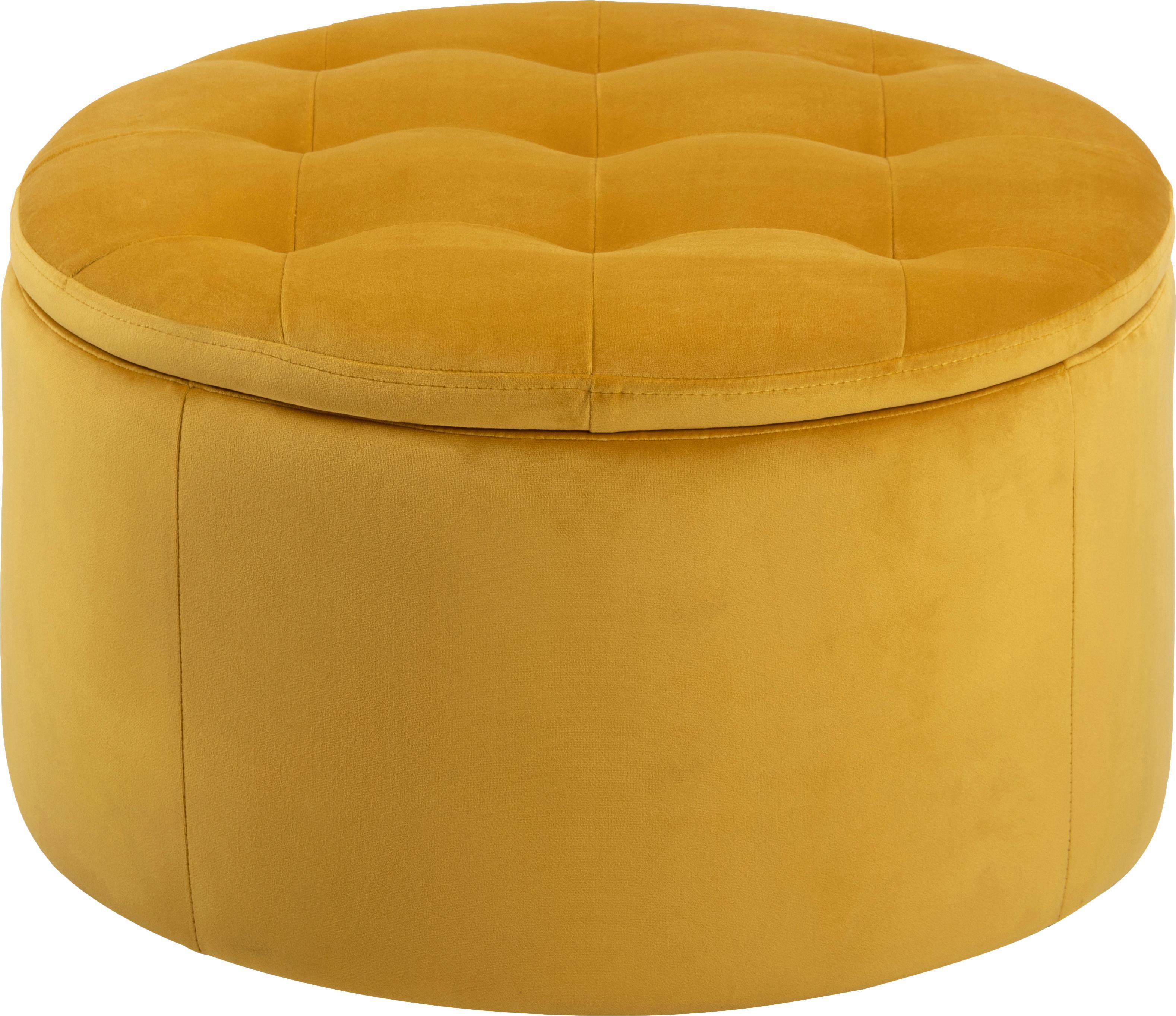 Puf de terciopelo Retina, con espacio de almacenamiento, Tapizado: terciopelo de poliéster 2, Estructura: plástico, Amarillo, Ø 60 x Al 35 cm