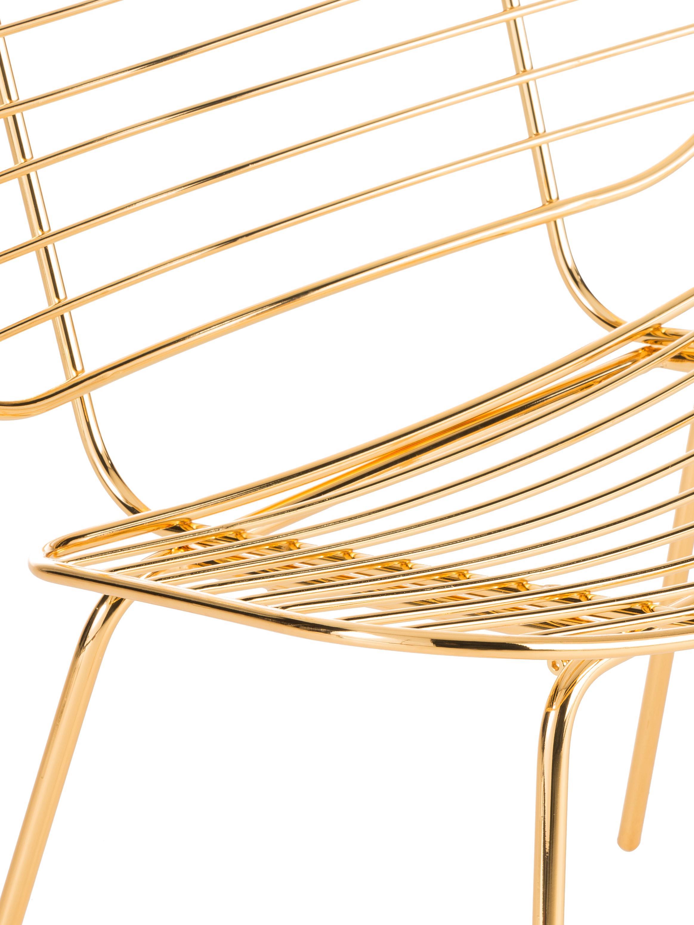 Sedia a poltrona in metallo Chloé, Metallo rivestito, Ottone, Larg. 71 x Alt. 81 cm