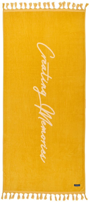 Strandtuch Creating Memories mit Schriftzug, 100% Baumwolle, GOTS-zertifiziert, mittelschwere Qualität, 450 g/m², Gelb, 80 x 180 cm