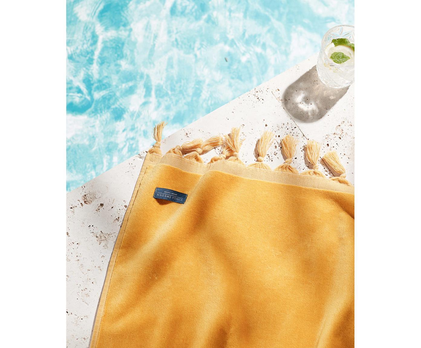 Ręcznik plażowy Creating Memories, Bawełna, certyfikat GOTS, Średnia gramatura, 450 g/m², Żółty, S 80 x D 180 cm