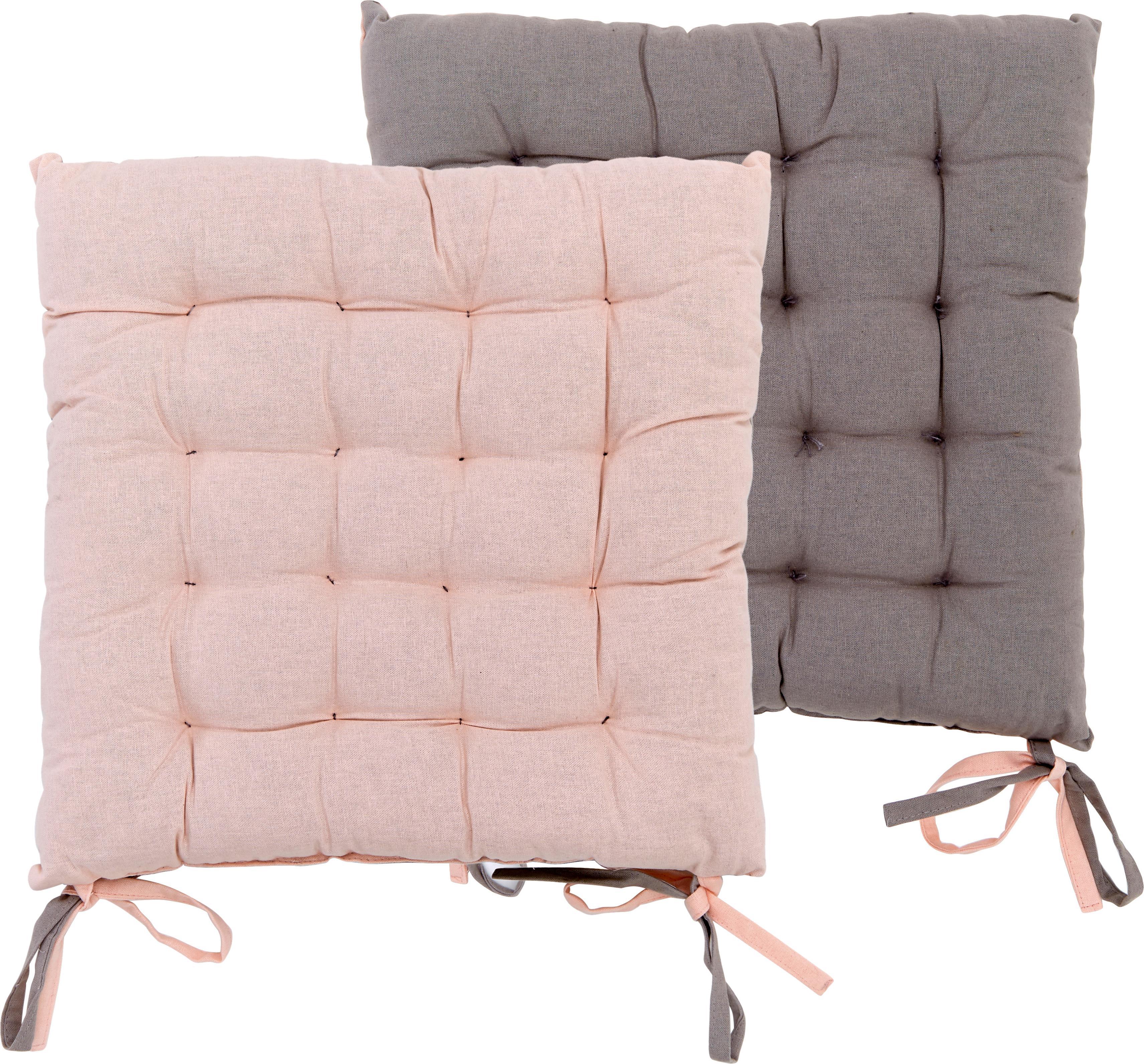 Cuscino reversibile rosa/grigio Duo 2 pz, Rosa cipria, grigio, Larg. 40 x Lung. 40 cm