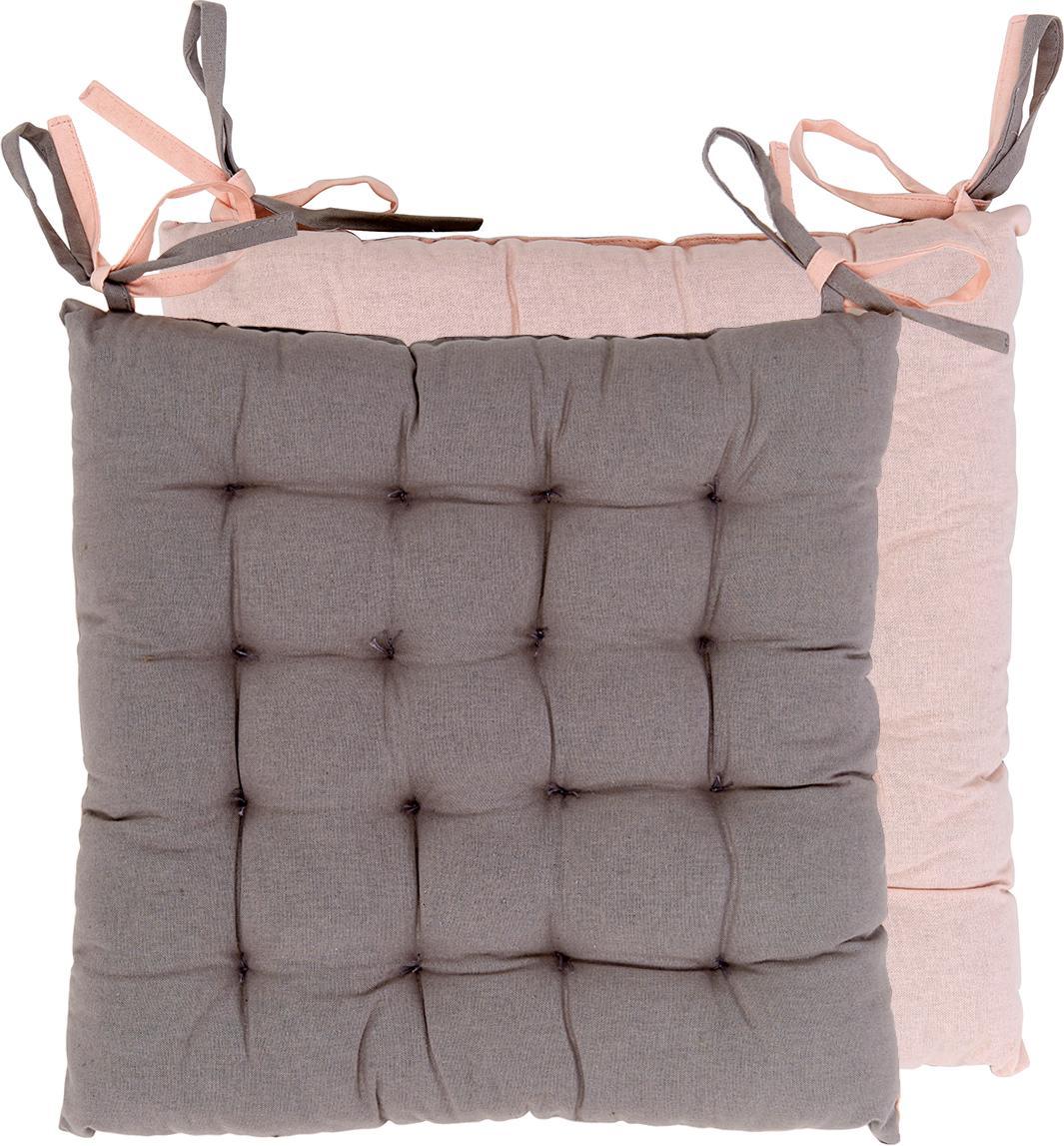 Cojines de asiento, caras distintas Duo, 2uds., Rosa palo, gris, An 40 x L 40 cm