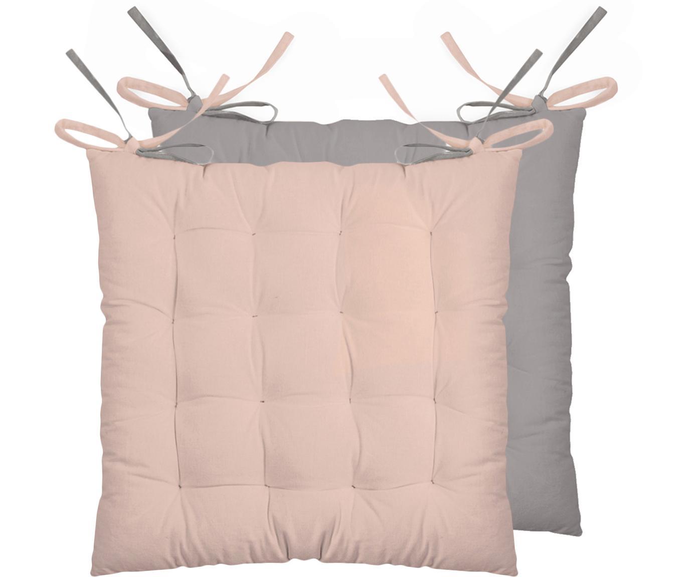 Dubbelzijdige stoelkussens Duo roze/grijs, 2 stuks, Poederroze, grijs, 40 x 40 cm