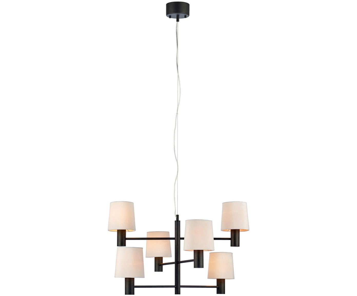 Suspension en velours London, Structure : noir Abat-jour : blanc Câble : transparent