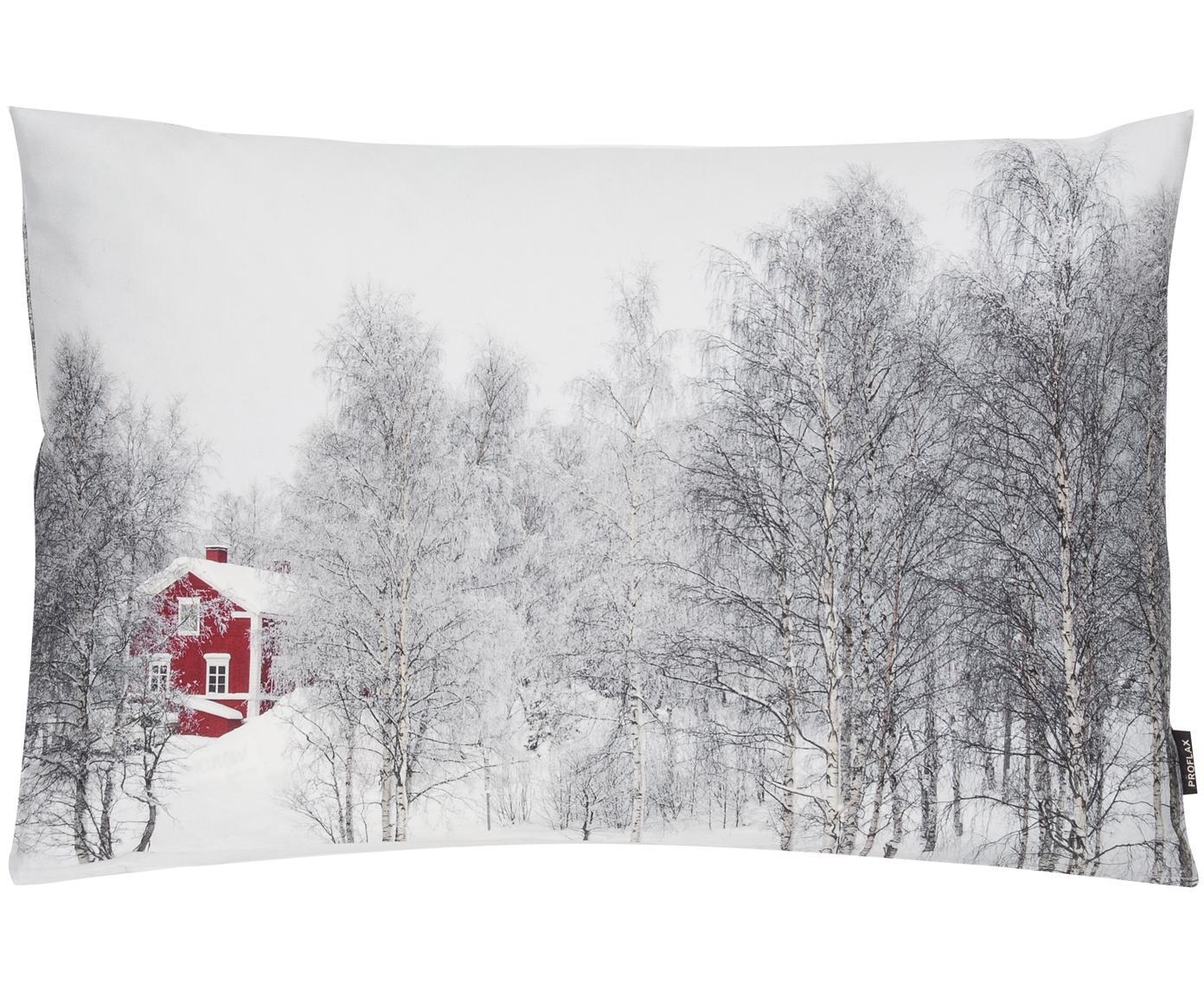 Kissenhülle Arhus mit winterlichem Motiv, Baumwolle, Vorder- und Rückseite: Weiß, Schwarz, Rot, 40 x 60 cm