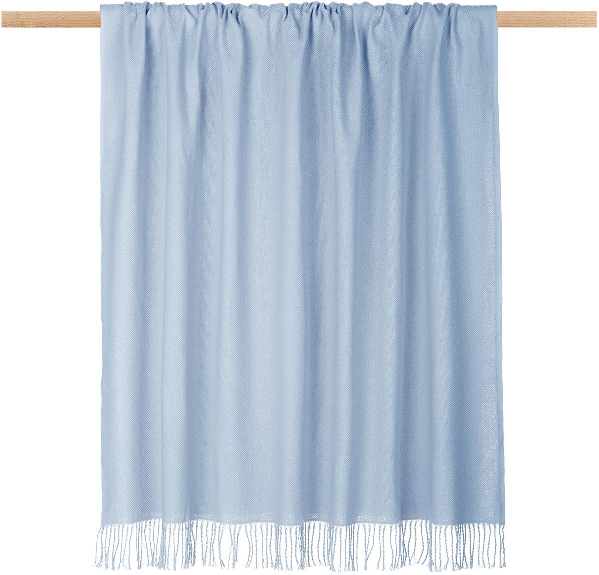 Einfarbiges Plaid Madison in Hellblau mit Fransenabschluss, 100% Baumwolle, Hellblau, 130 x 170 cm