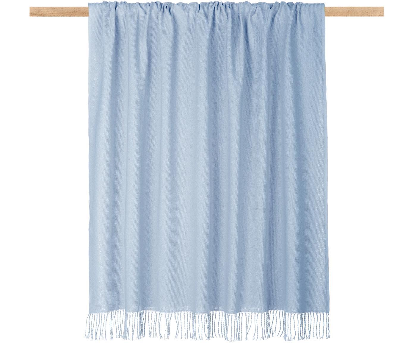 Plaid grigio chiaro con frange Madison, 100% cotone, Azzurro, Larg. 130 x Lung. 170 cm