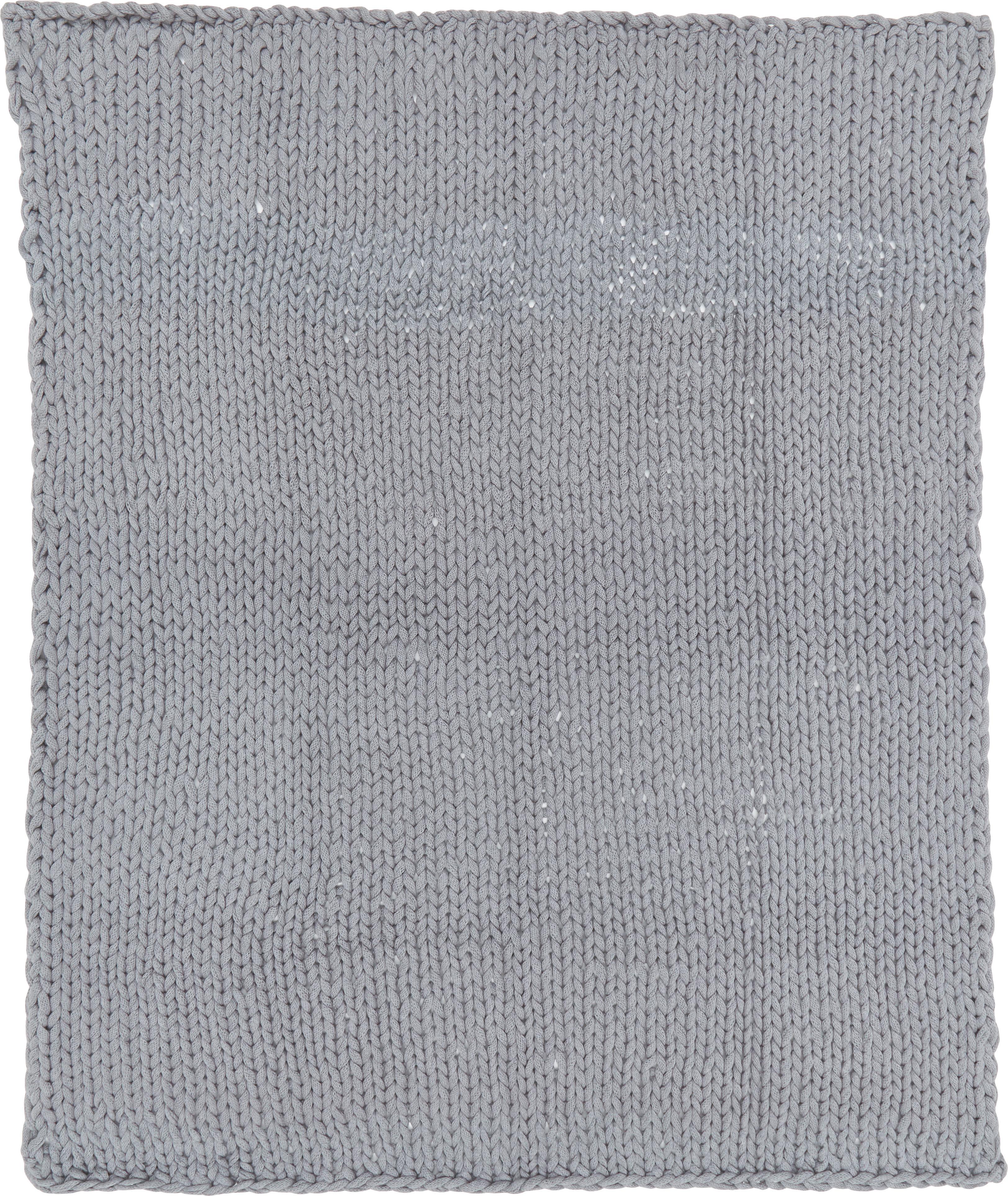 Grobes Strick-Plaid Adyna in Hellgrau, 100% Acryl, Hellgrau, 150 x 200 cm