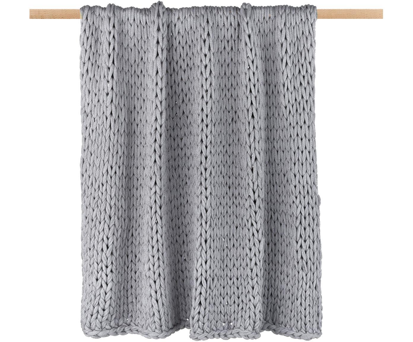 Plaid a maglia Adyna, 100% acrilico, Grigio chiaro, 150 x 200 cm