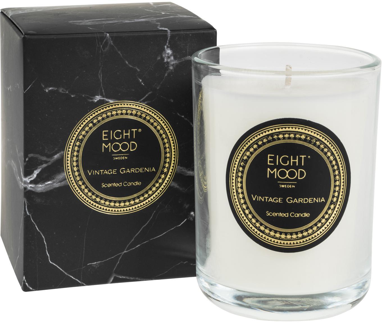 Duftkerze Black Marble (Gardenie), Behälter: Glas, Behälter: Transparent Wachs: Weiss, Ø 9 x H 12 cm