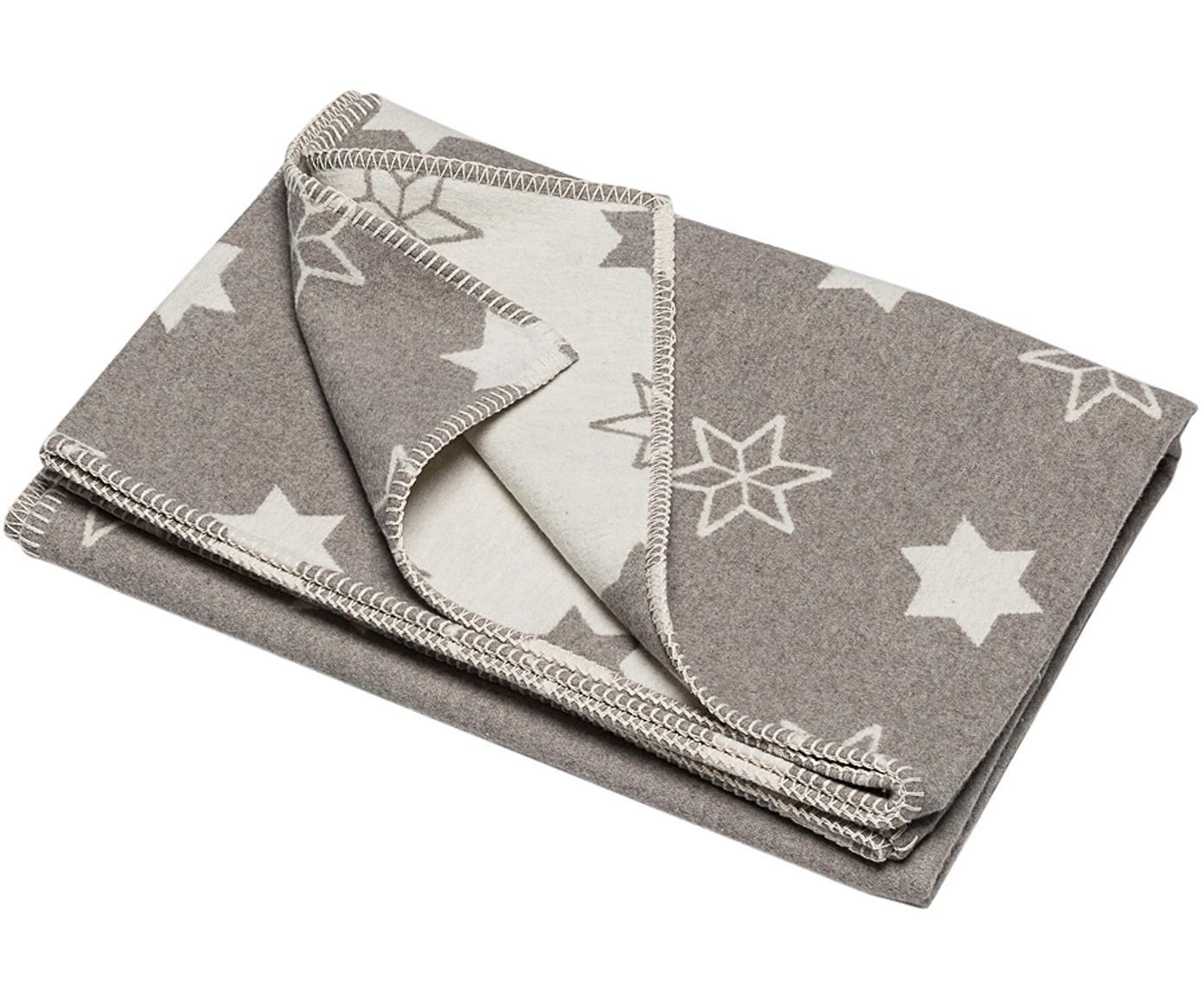Plaid Star mit Sternen, Bezug: 85% Baumwolle, 8% Viskose, Grau, Beige, 140 x 200 cm