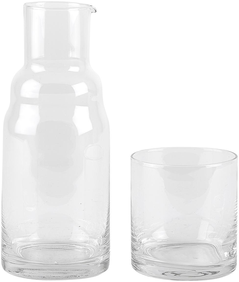 Set caraffa e bicchiere Wadi 2 pz, Vetro, Trasparente, Ø 8 x Alt. 21 cm