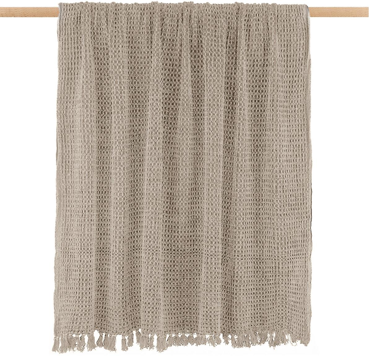 Plaid Waffle in Beige, 100% Baumwolle, Taupe, 130 x 170 cm