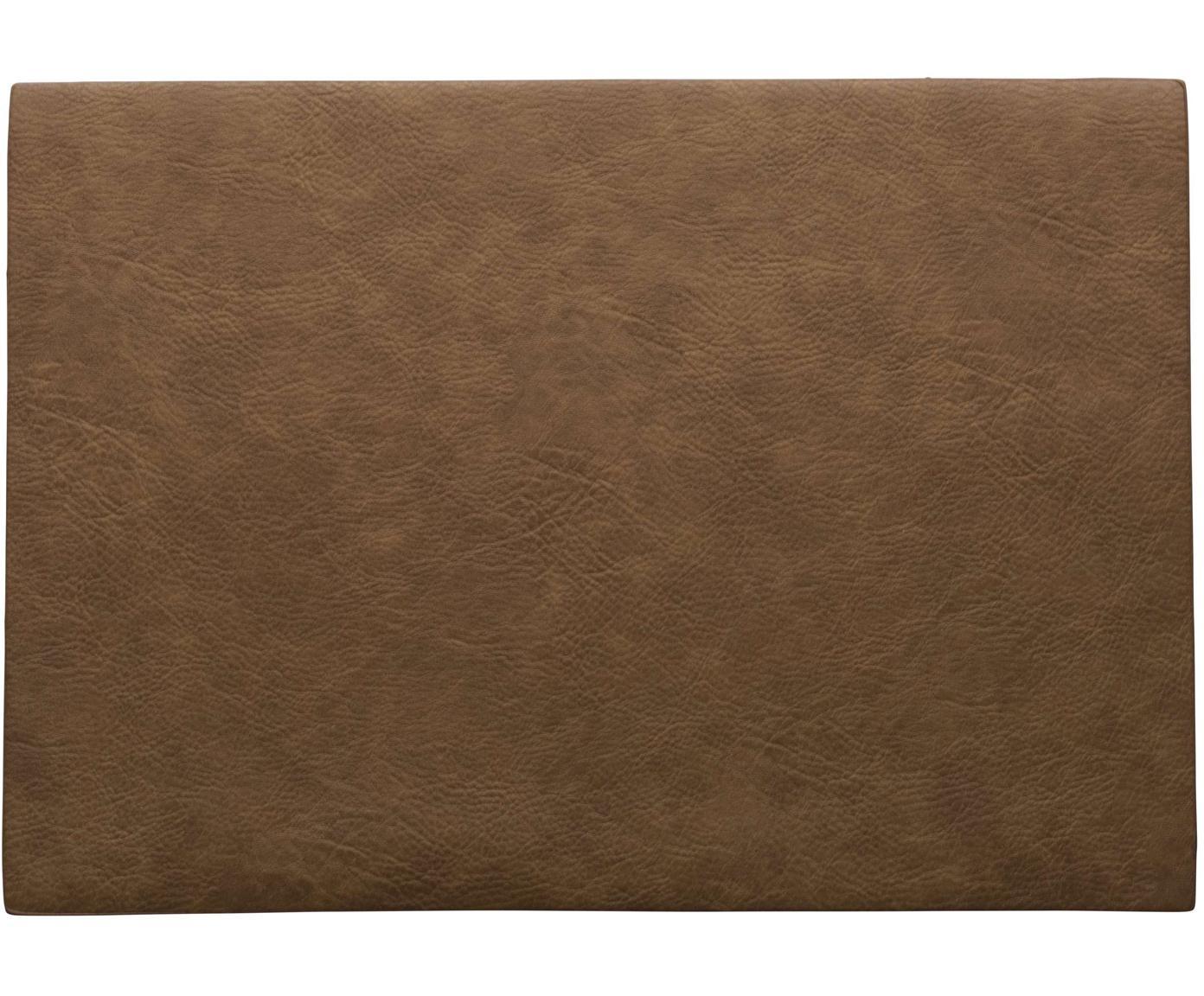 Kunstleren placemats Plini, 2 stuks, Veganistisch leer, polyurethaan, Bruin, 33 x 46 cm