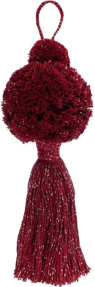 Kerstboomhangers Pompon, 2 stuks, Katoen met Lurex draden, Wijnrood, goudkleurig, Ø 8 x H 37 cm